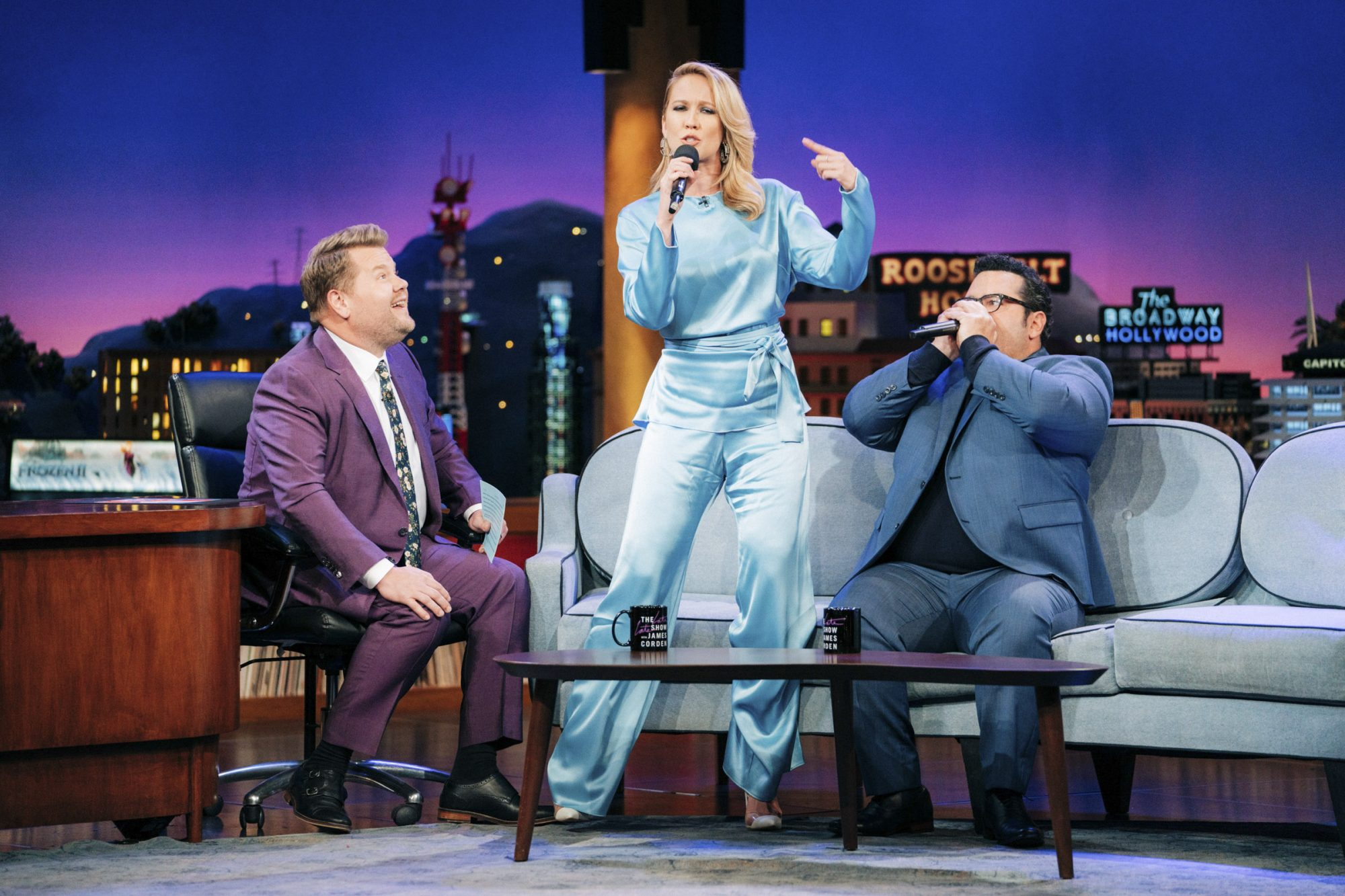 The Late Late Show with James Corden with guests Anna Camp, Josh Gad