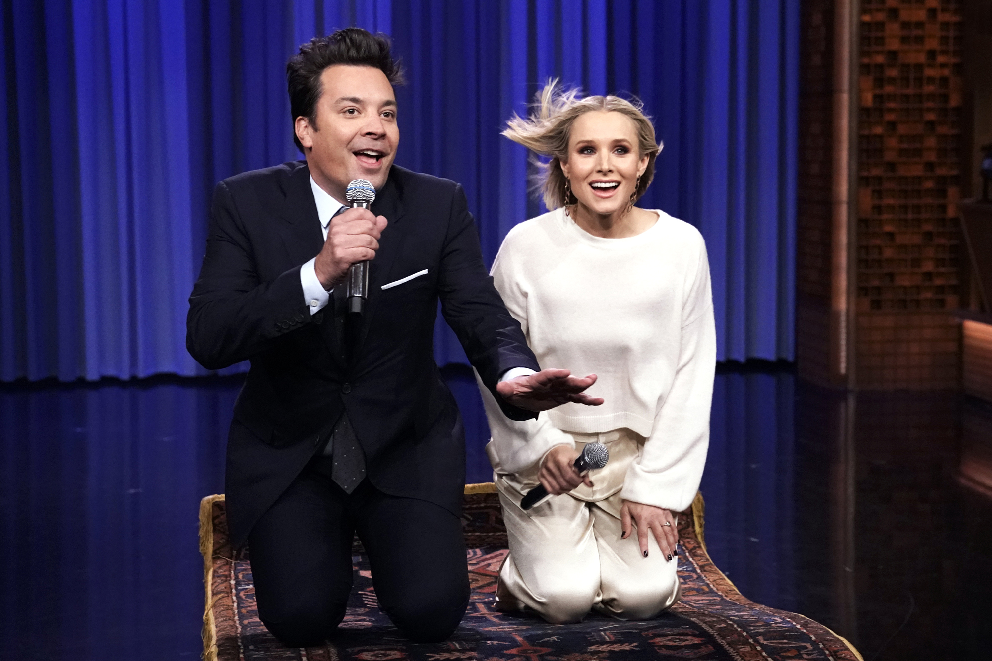 "Jimmy Fallon and actress Kristen Bell during ""The History of Disney Songs"