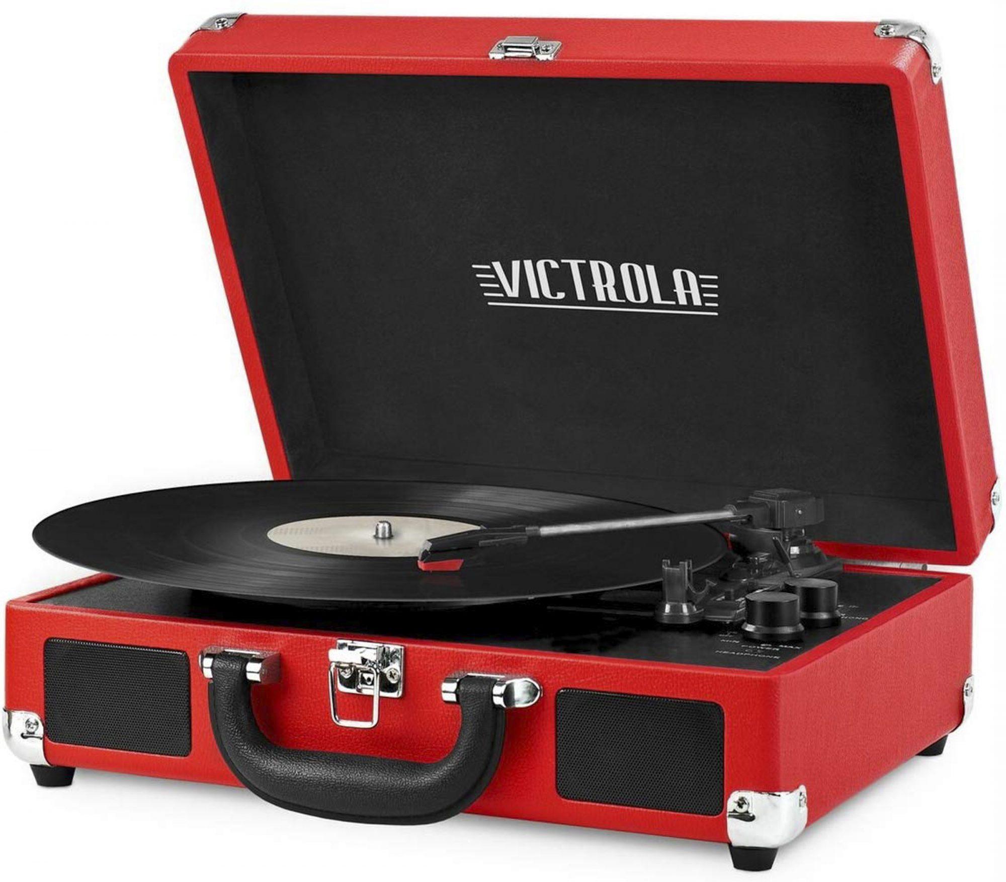 Victrola Vintage 3-Speed Bluetooth Suitcase Turntable with Speakers, Red