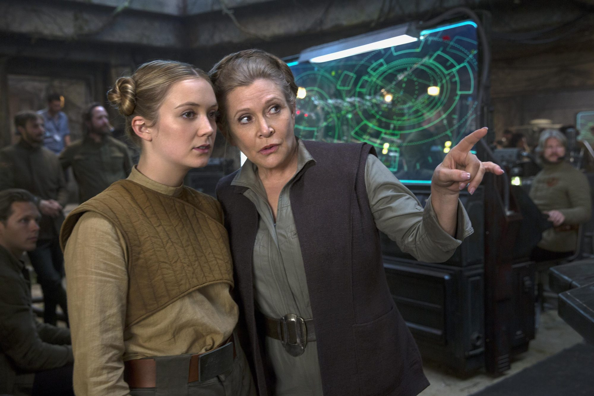 Star Wars: The Force Awakens (2015)Billie Lourd (L) and Carrie Fisher