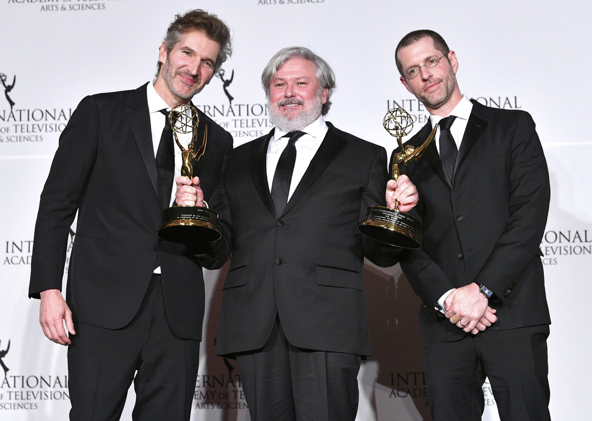 David Benioff and D.B. Weiss Winner of the Founder award with Presenter Conleth Hill