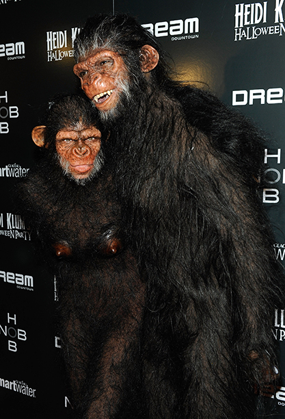 Heidi Klum and Seal as Apes on October 31, 2011