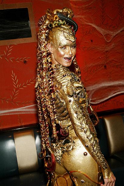 Heidi Klum as a Golden Alien on October 31, 2003