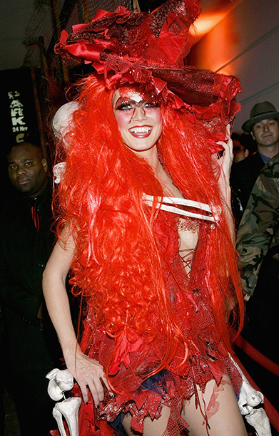 Heidi Klum as a Red Witch on October 31, 2004