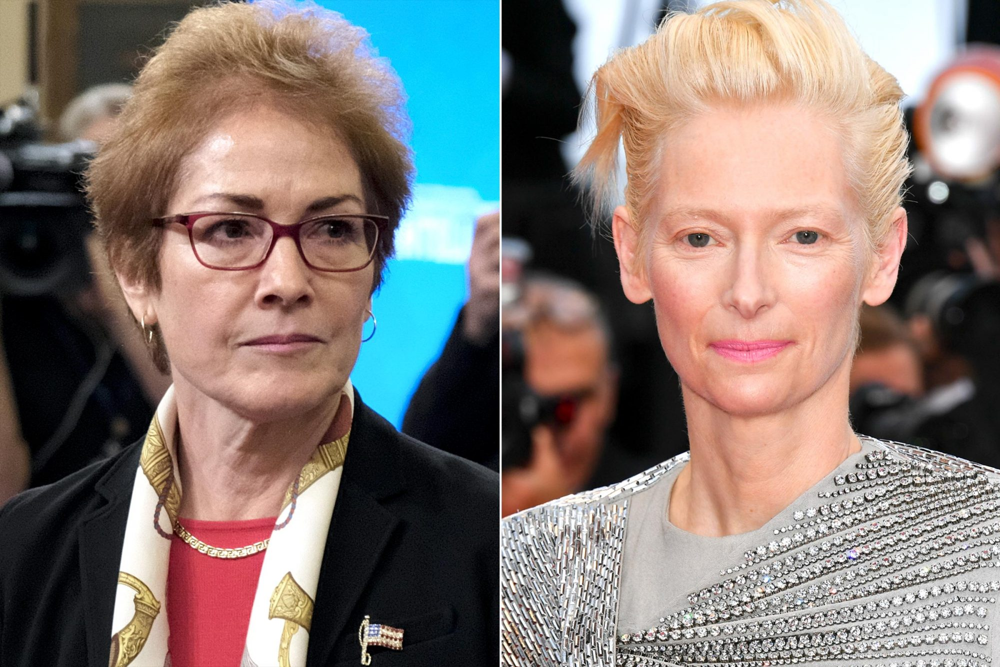 Former U.S. Ambassador to Ukraine Marie Yovanovitch, played by Tilda Swinton