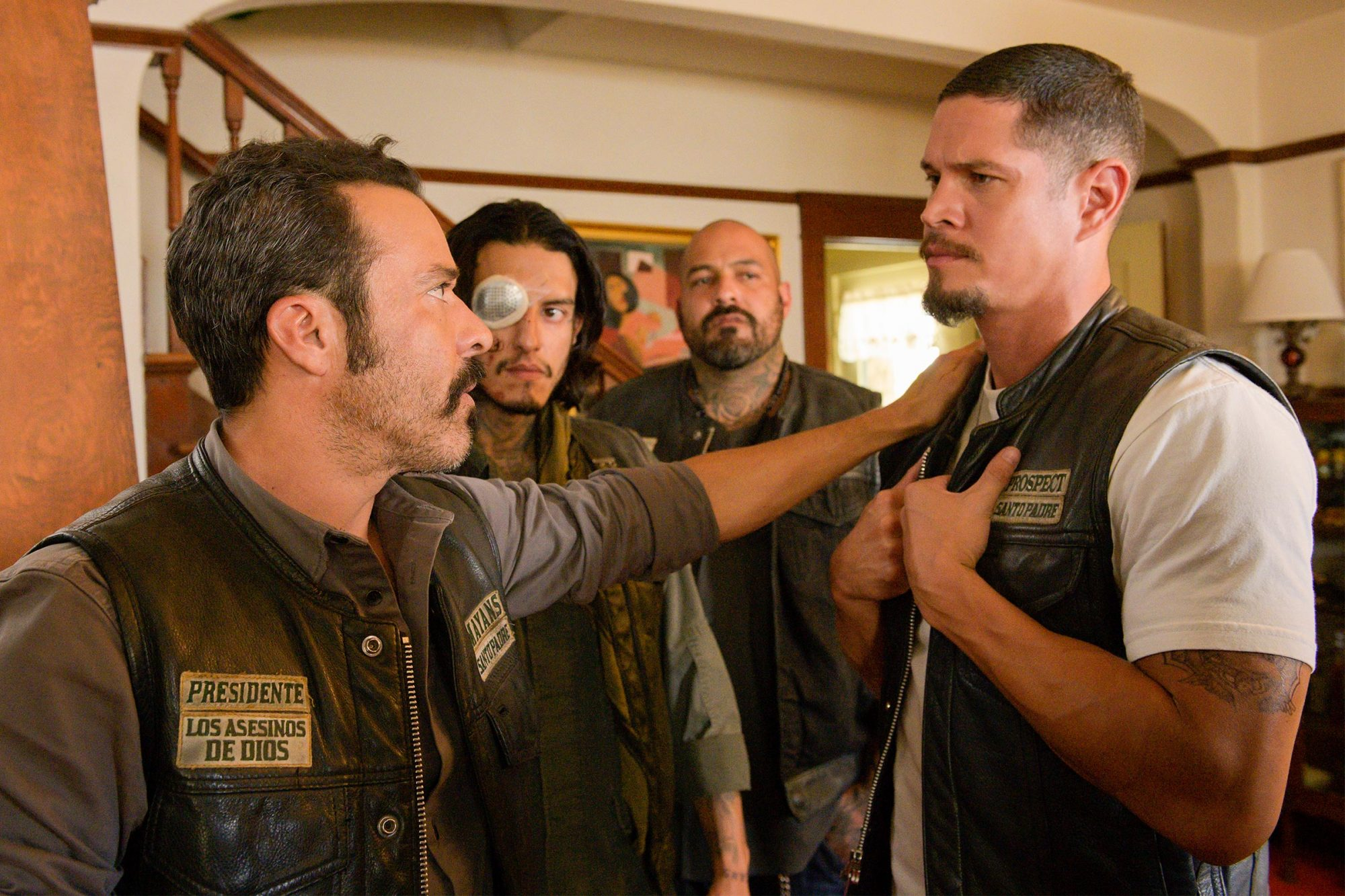 "MAYANS M.C. -- ""Hunahpu"" -- Season 2, Episode 10 (Airs Tuesday, November 5, 10:00 p.m. e/p) Pictured: (l-r) Michael Irby as Obispo ""Bishop"" Losa, Richard Cabral as Johnny ""Coco"" Cruz, Vincent Rocco Vargas as Gilberto ""Gilly"" Lopez, JD Pardo as EZ Reyes. CR: Prashant Gupta/FX"