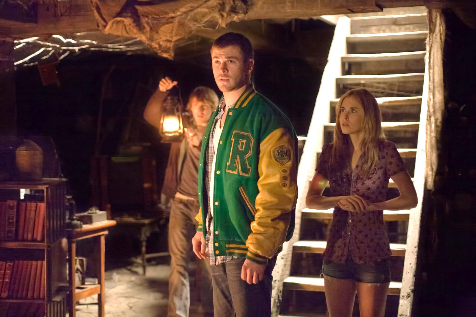 THE CABIN IN THE WOODS, from left: Fran Kranz, Chris Hemsworth, Anna Hutchison, 2012. ph: Diyah Pera