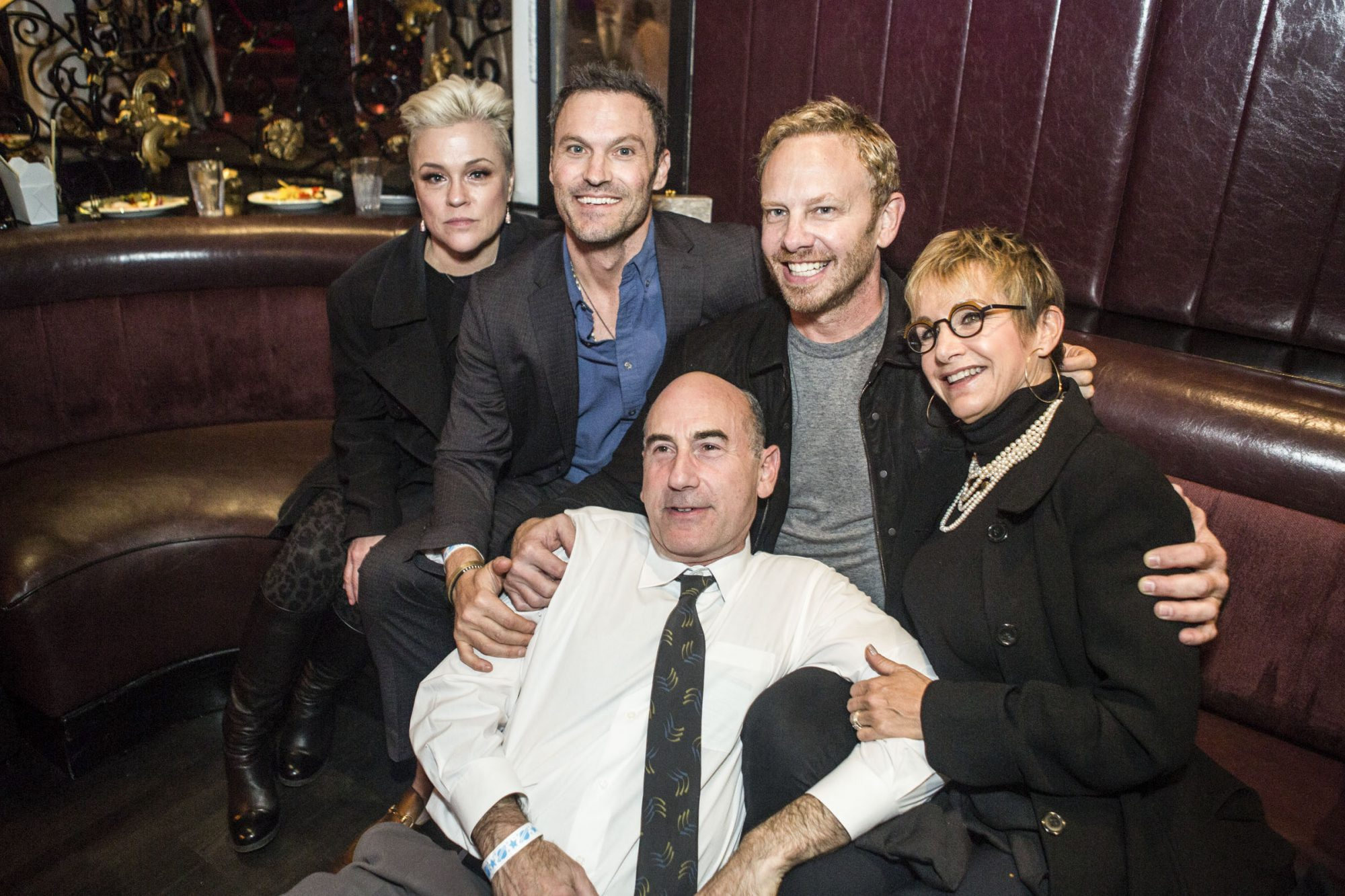 90210 stars Christine Elise, Brian Austin Green, Ian Ziering, Gabrielle Carteris and James Eckhouse