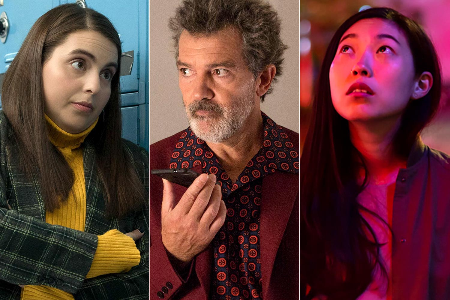Beanie Feldstein in Booksmart, Antonio Banderas in Pain and Glory, Awkwafina in The Farewell