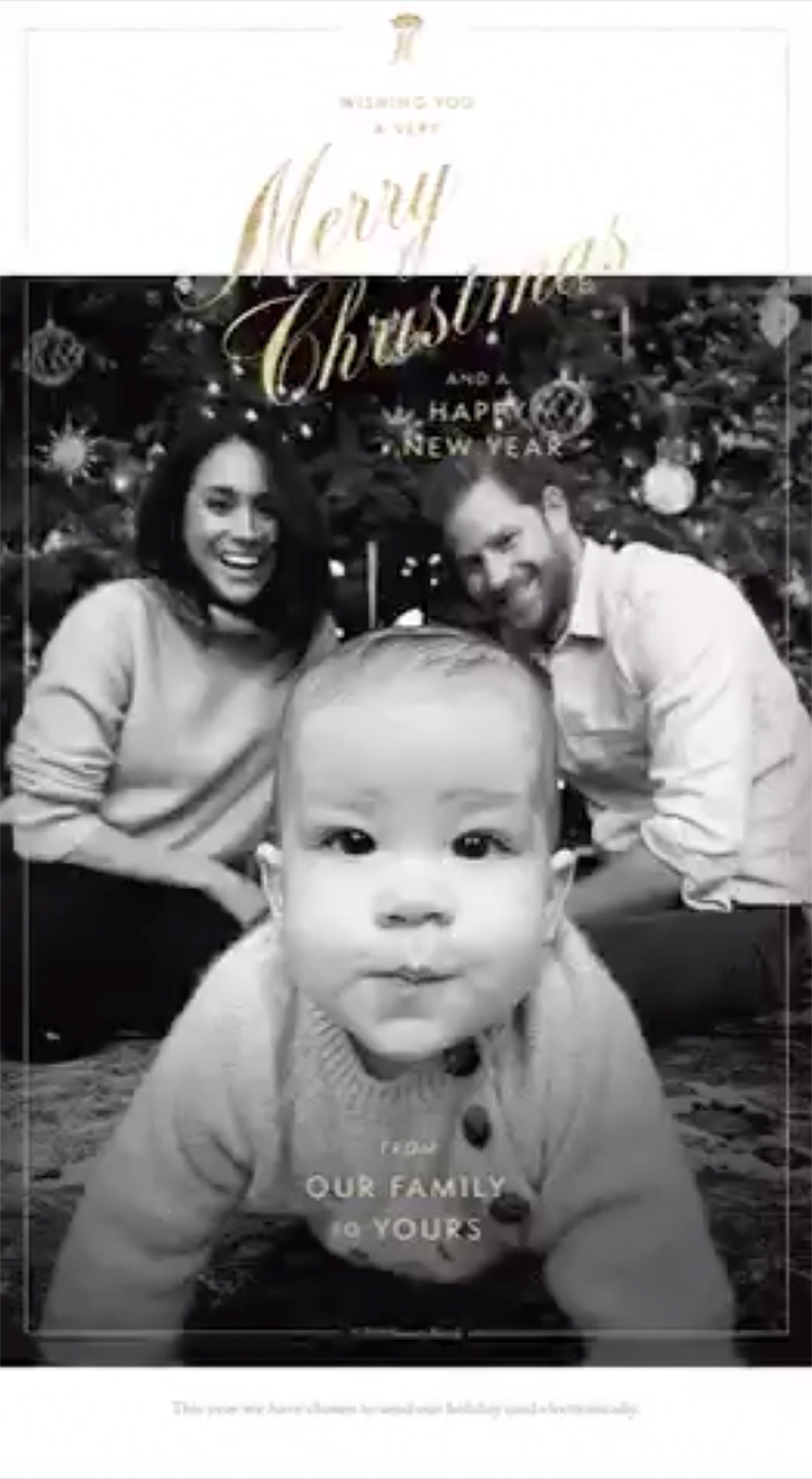 Harry and Meghan, Duke and Duchess of Sussex and Baby Archie Christmas Card