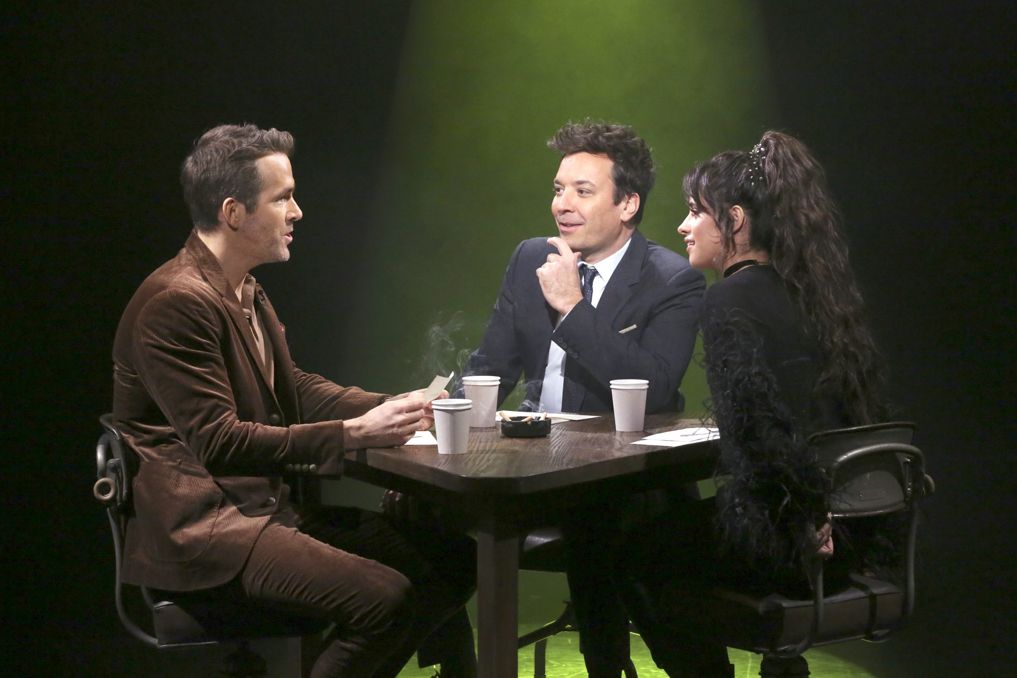 "Ryan Reynolds, host Jimmy Fallon, and singer Camila Cabello during ""True Confessions"""