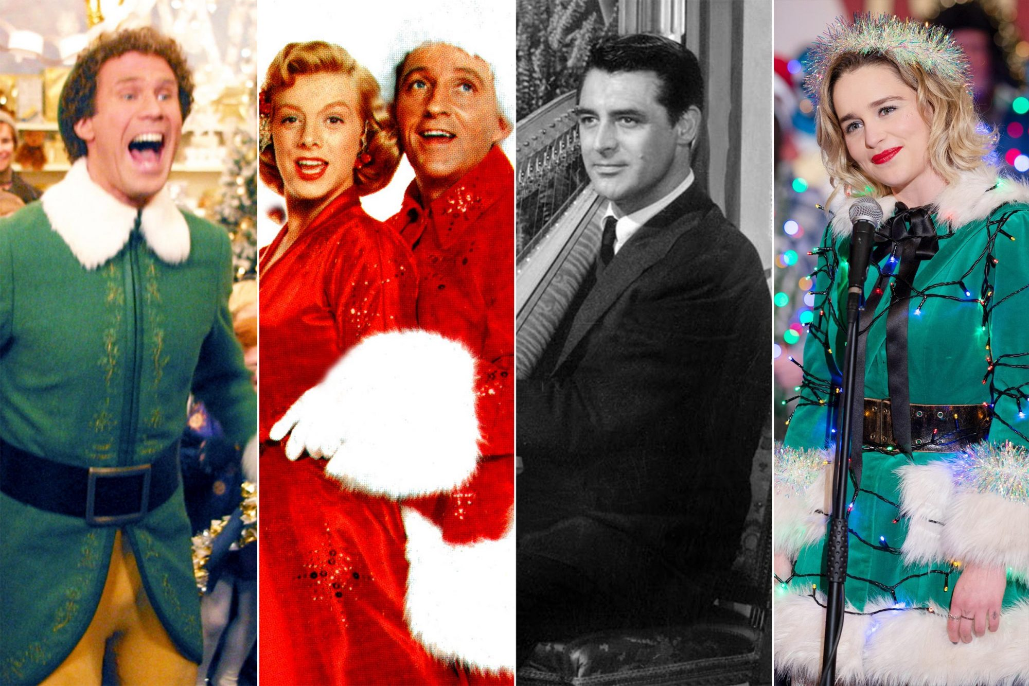 ELF, Will Ferrell, 2003, (c) New Line/courtesy Everett Collection WHITE CHRISTMAS, Vera-Ellen, Danny Kaye, Rosemary Clooney, Bing Crosby, 1954 THE BISHOP'S WIFE, from left: Cary Grant, 1947 LAST CHRISTMAS, Emilia Clarke, 2019. ph: Jonathan Prime / © Universal / courtesy Everett Collection