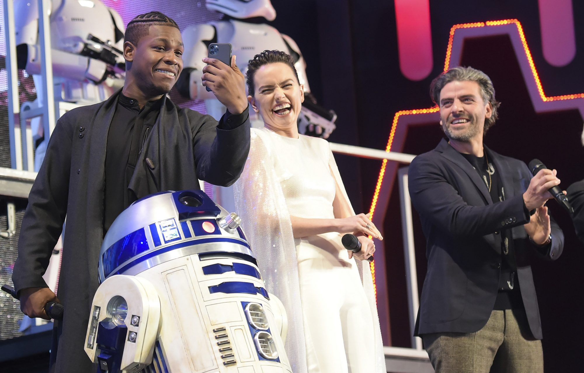 John Boyega, Daisy Ridley and Oscar Isaac