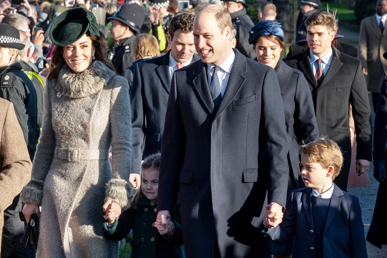 Duchess of Cambridge and Prince William, Duke of Cambridge with Prince George of Cambridge and Princess Charlotte of Cambridge attend the Christmas Day Church service at Church of St Mary Magdalene on the Sandringham estate on December 25, 2019 in King's Lynn, United Kingdom