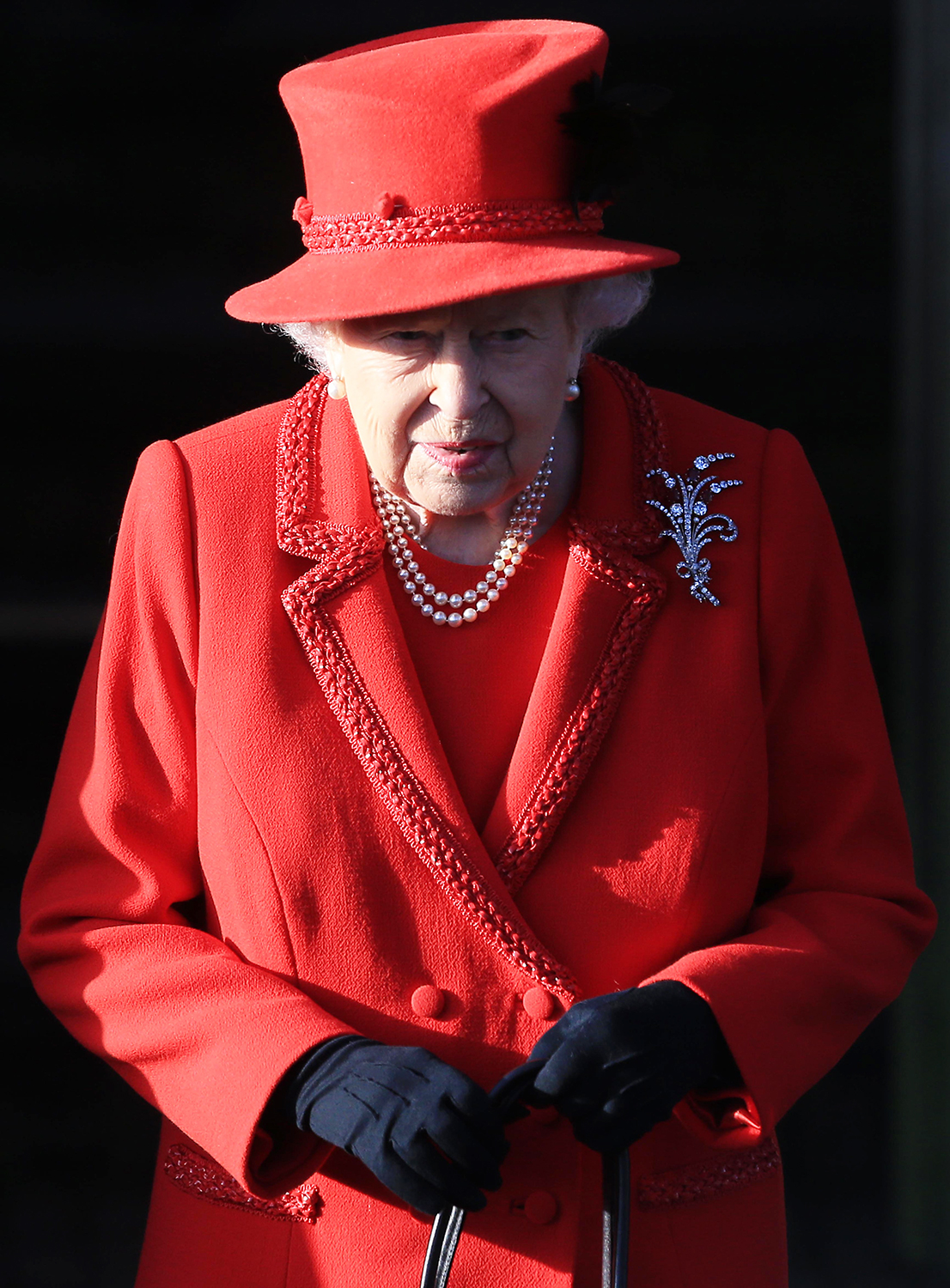 KING'S LYNN, ENGLAND - DECEMBER 25: Queen Elizabeth II leaves after attending the Christmas Day Church service at Church of St Mary Magdalene on the Sandringham estate on December 25, 2019 in King's Lynn, United Kingdom. (Photo by Stephen Pond/Getty Images)