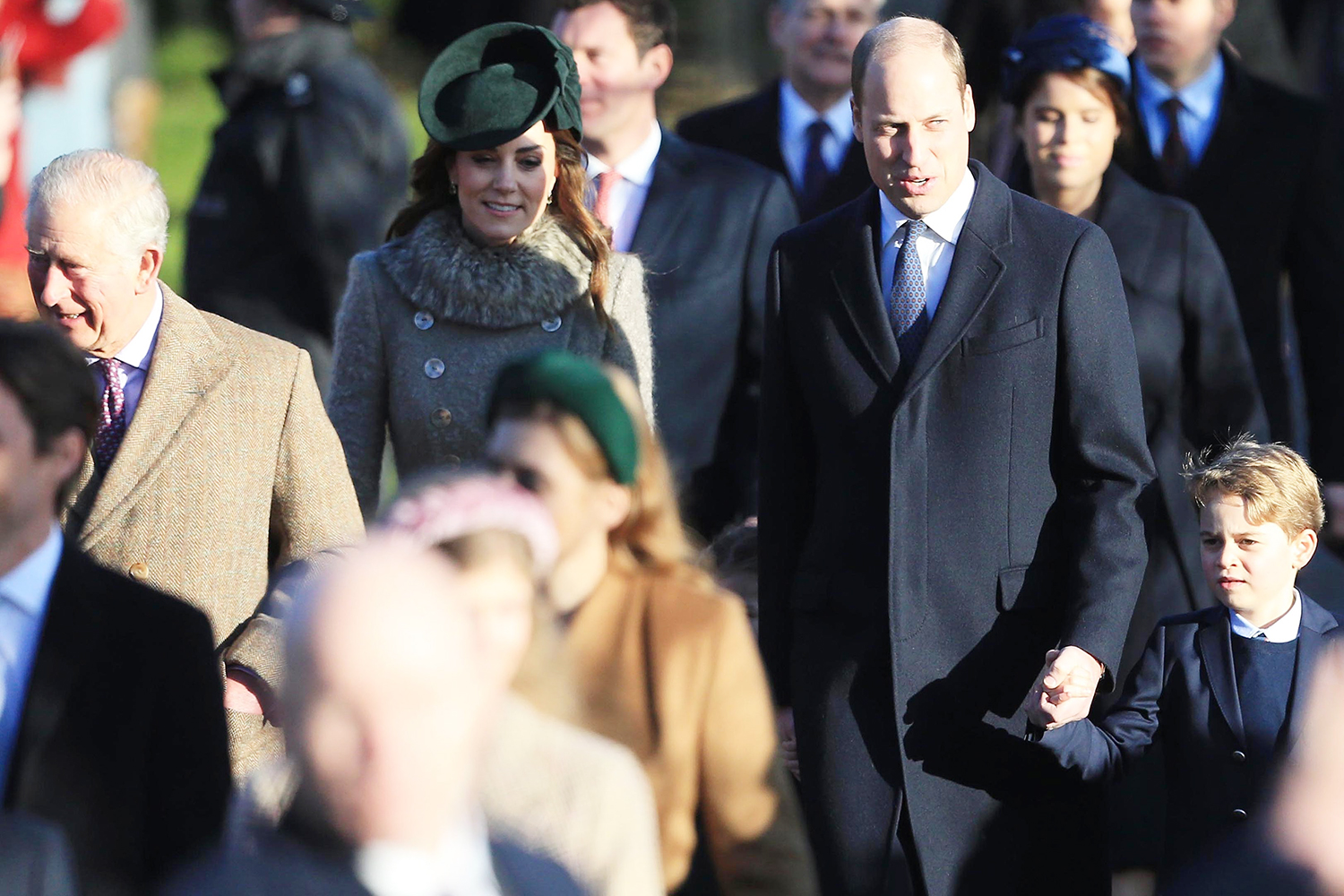 Prince Charles, Prince of Wales ,Prince William, Duke of Cambridge, Catherine, Duchess of Cambridge and Prince George attend the Christmas Day Church service