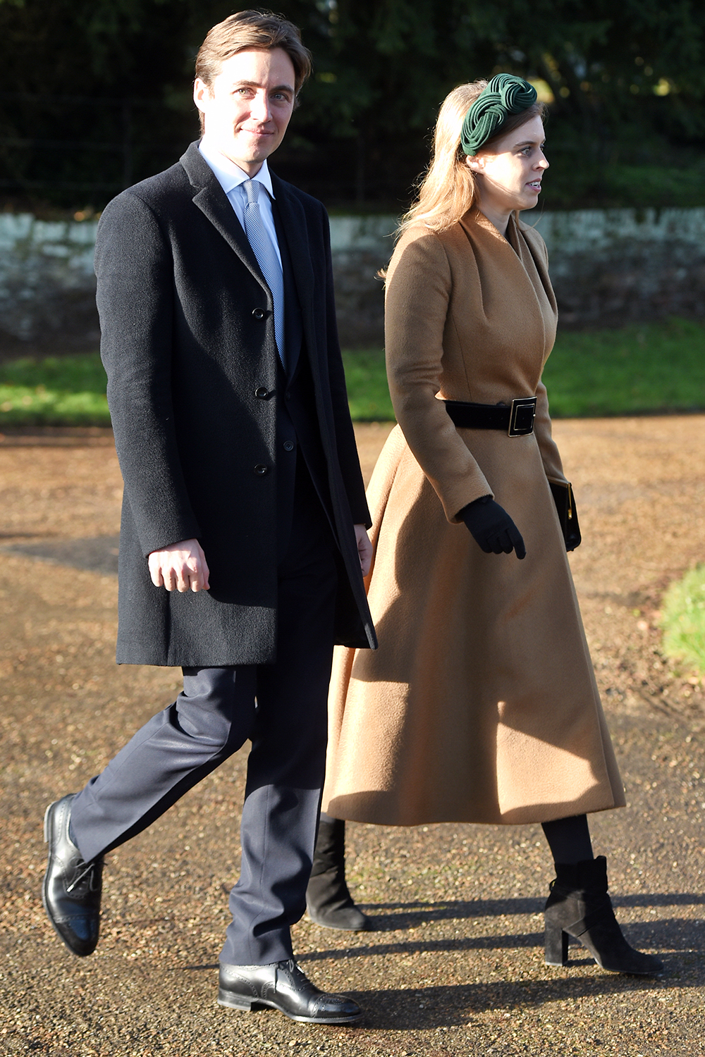 Edoardo Mapelli Mozzi and Princess Beatrice after attending the Christmas Day morning church service at St Mary Magdalene Church in Sandringham, Norfolk. (Photo by Joe Giddens/PA Images via Getty Images)