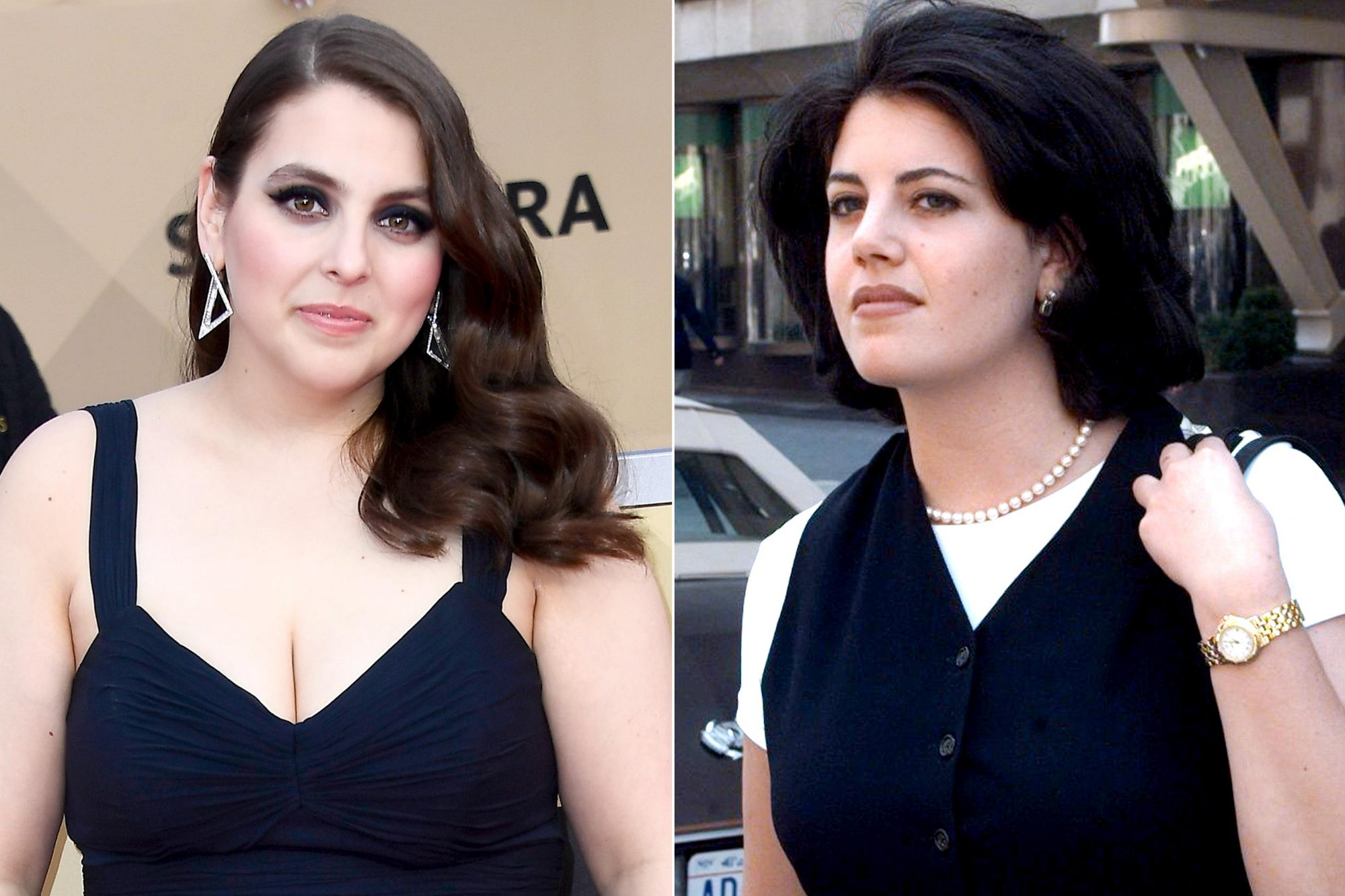 LOS ANGELES, CA - JANUARY 21: Actor Beanie Feldstein attends the 24th Annual Screen ActorsGuild Awards at The Shrine Auditorium on January 21, 2018 in Los Angeles, California. (Photo by Frazer Harrison/Getty Images) UNITED STATES - JUNE 03: Monica Lewinsky leaving the office of attorney Plato Cacheris. (Photo by Harry Hamburg/NY Daily News Archive via Getty Images)