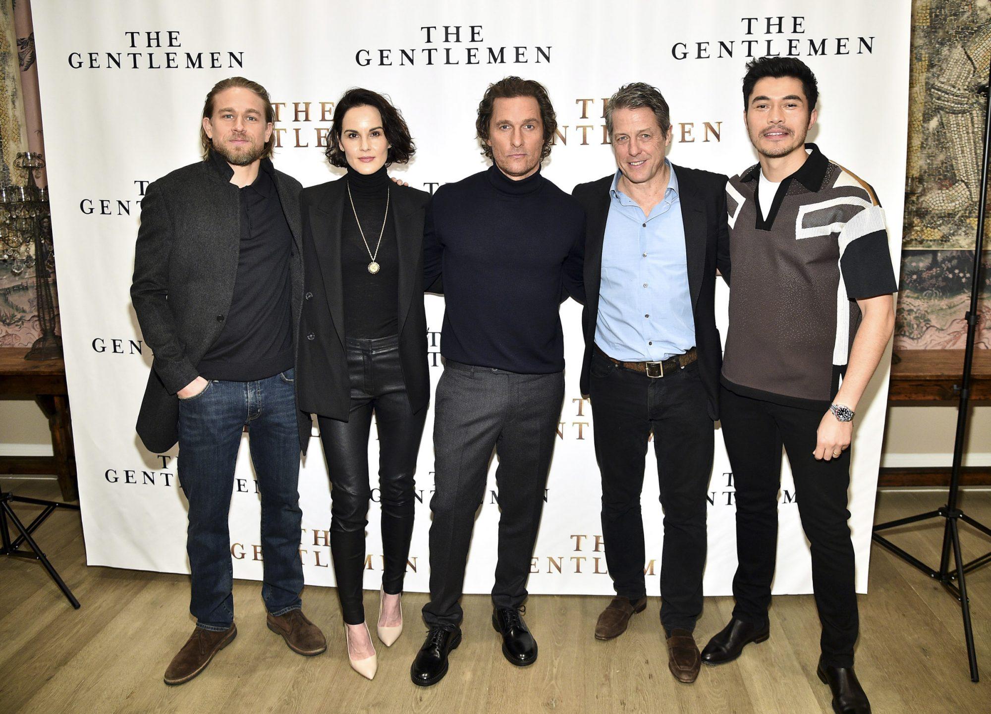 "Charlie Hunnam, Michelle Dockery, Matthew McConaughey, Hugh Grant, and Henry Golding attend ""The Gentlemen"""