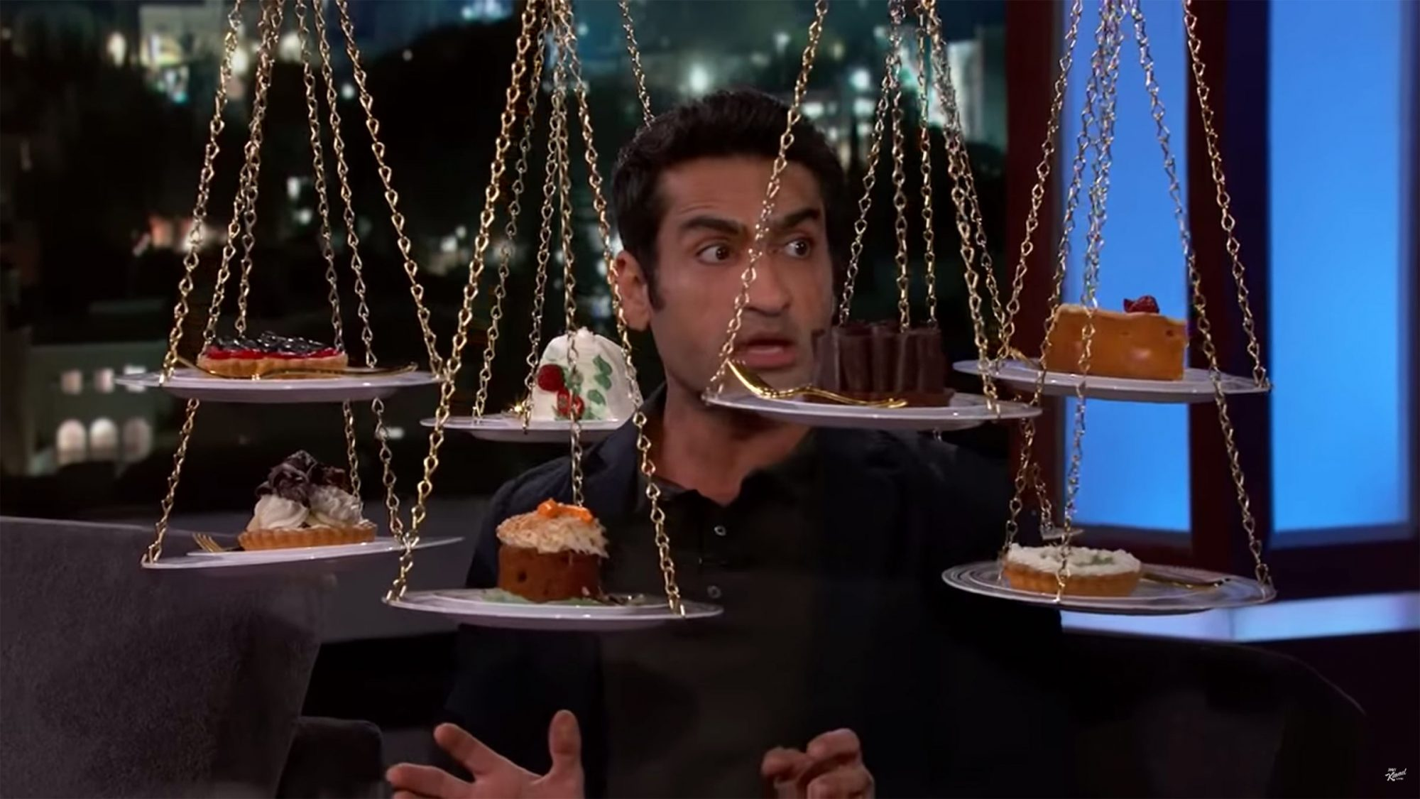 Jimmy Kimmel Live Kumail Nanjiani Has Pizza & Cake for First Time in a Year