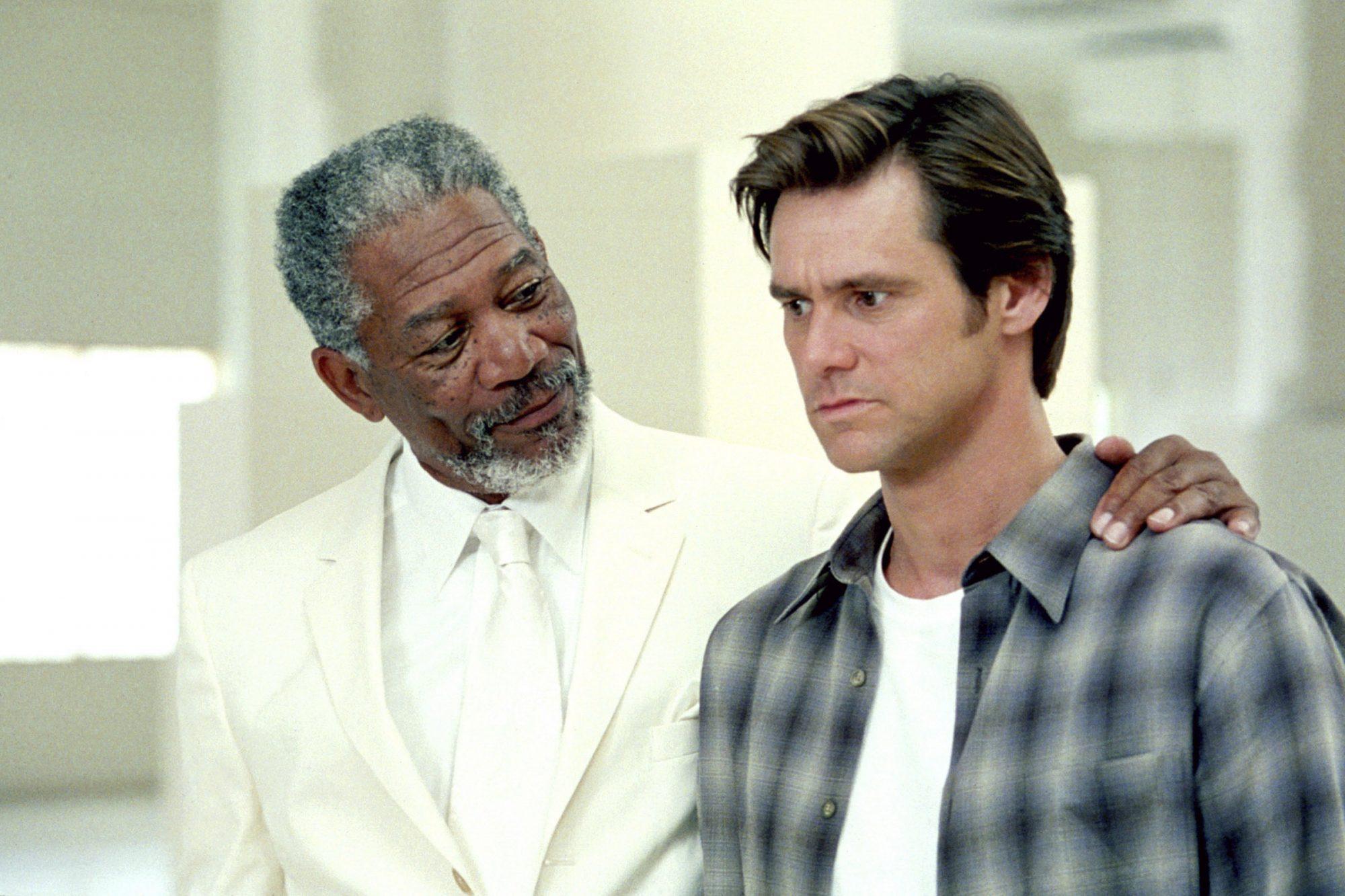 BRUCE ALMIGHTY, Morgan Freeman, Jim Carrey, 2003, (c) Universal/courtesy Everett Collection