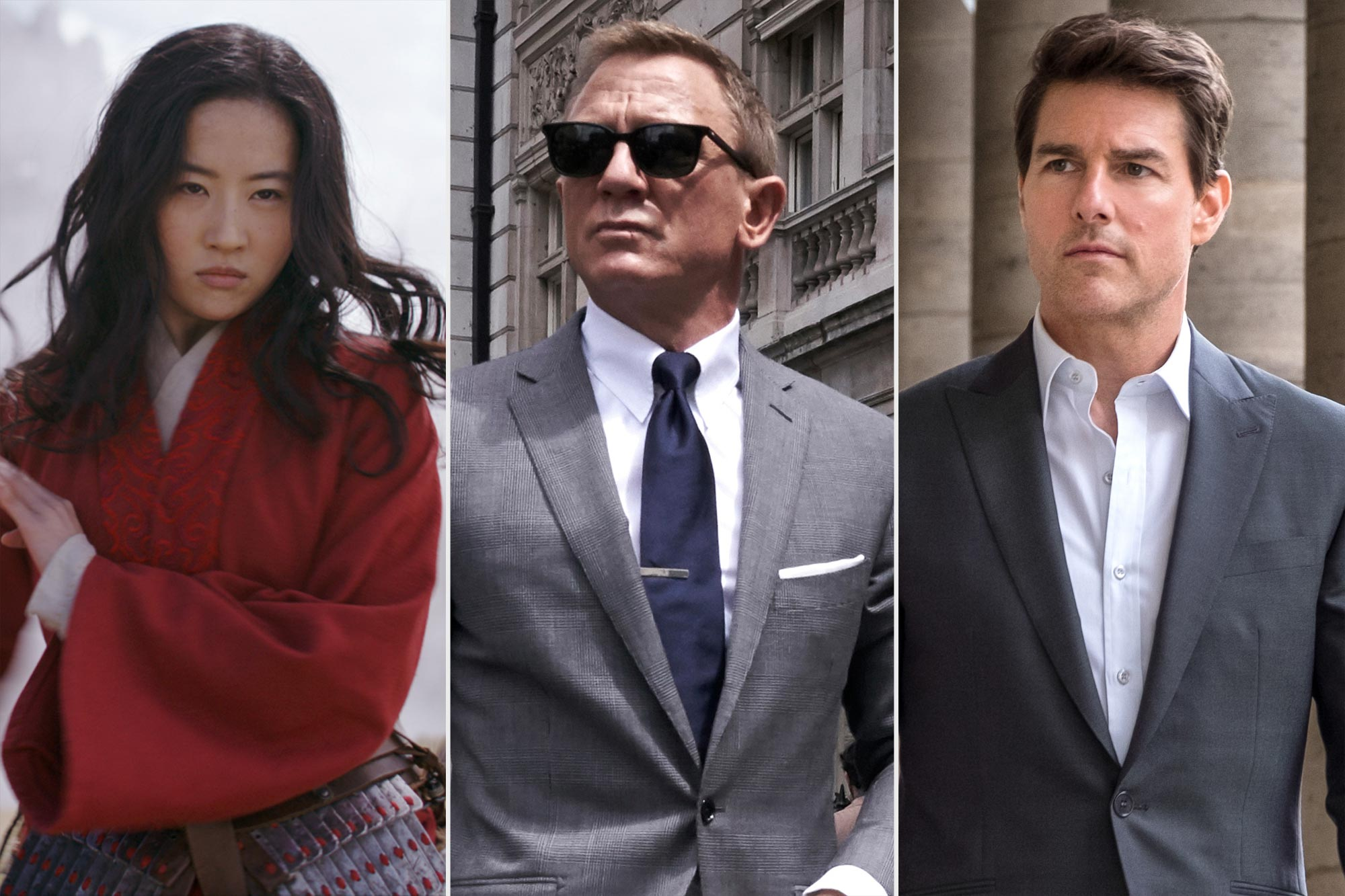 Mulan, Daniel Craig in No Time to Die, and Tom Cruise in Mission: Impossible — Fallout