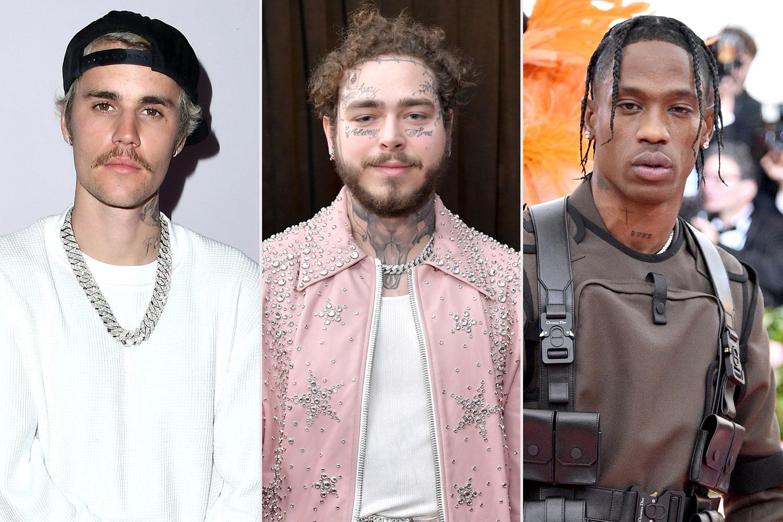 Justin Bieber, Post Malone, Travis Scott