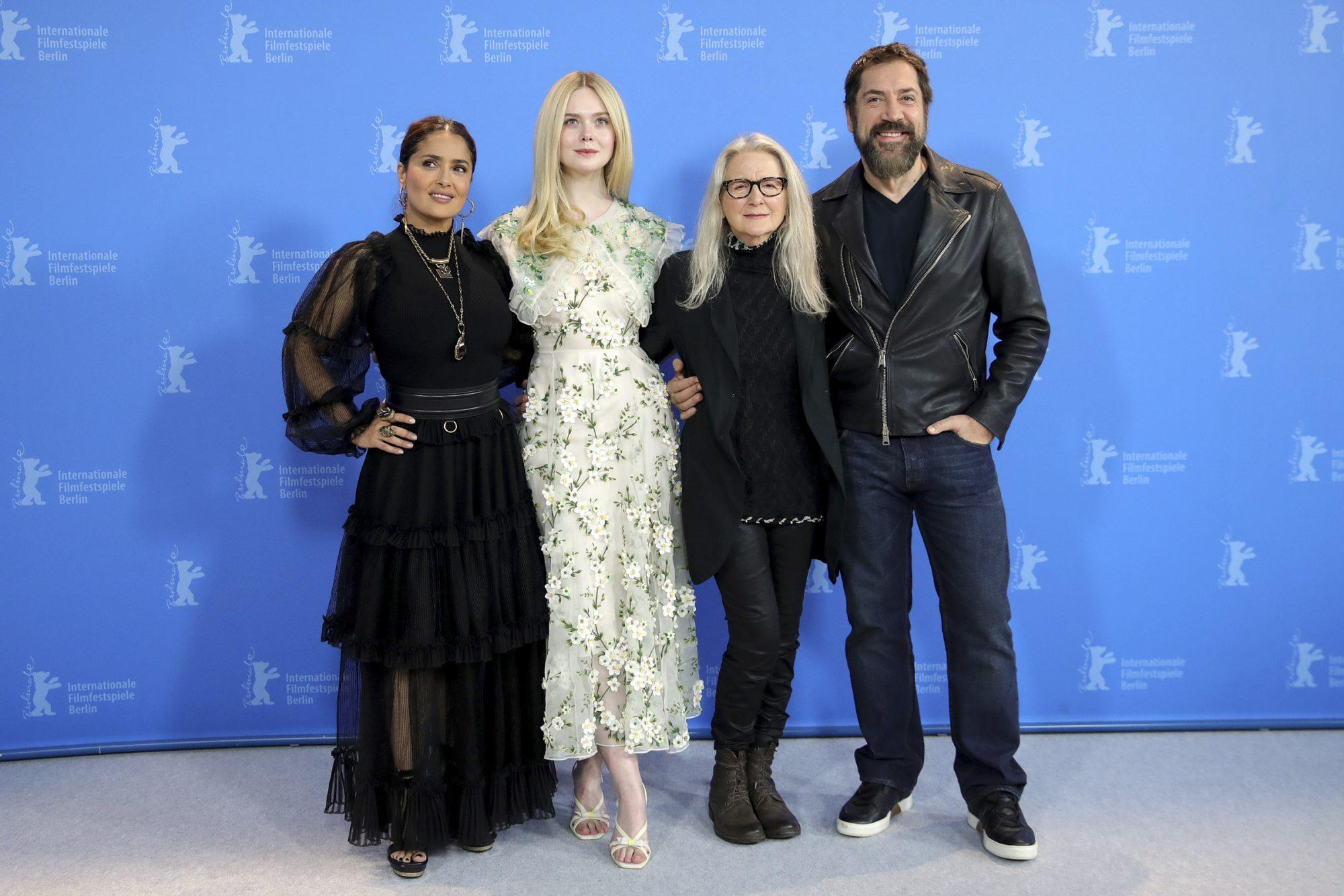 Salma Hayek, Elle Fanning director Sally Potter and Javier Bardem