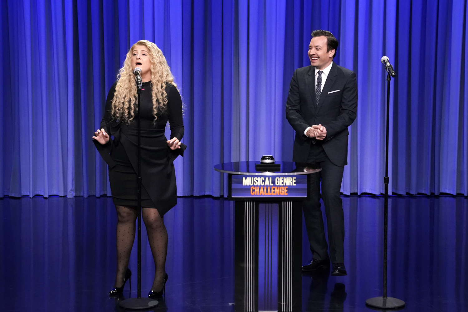 """Meghan Trainor and host Jimmy Fallon during """"Musical Genre Challenge"""""""