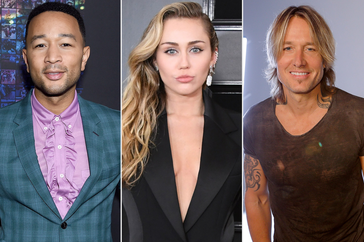 John Legend, Miley Cyrus, and Keith Urban