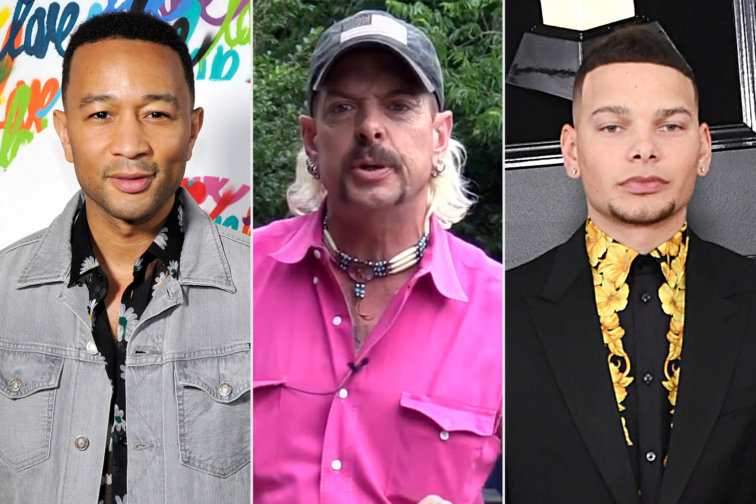 John Legend (red carpet); Joe Exotic from Tiger King; Kane Brown