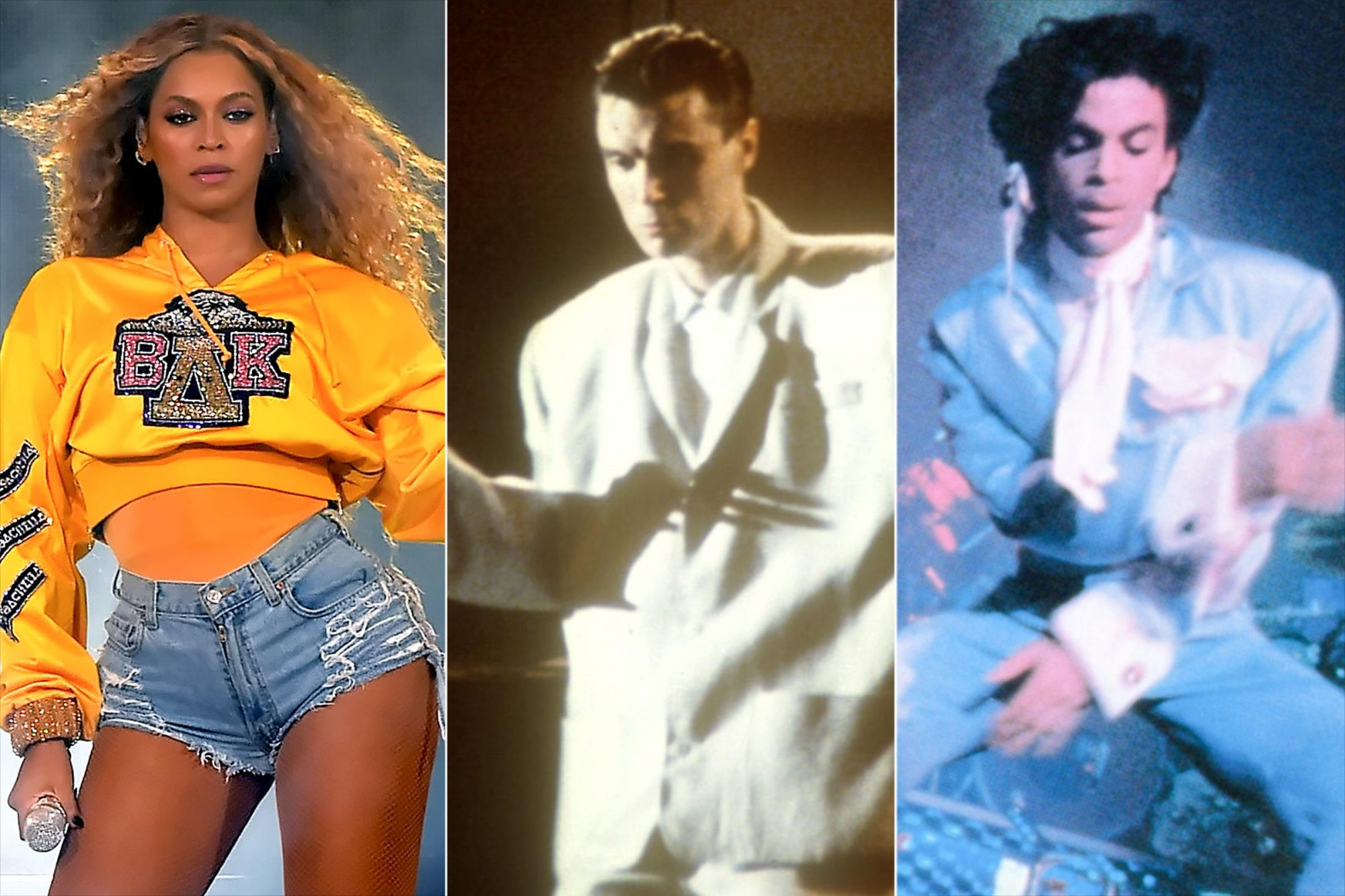 Beyonce in Beychella, David Byrne in Stop Making Sense, and Prince in Sign O The Times