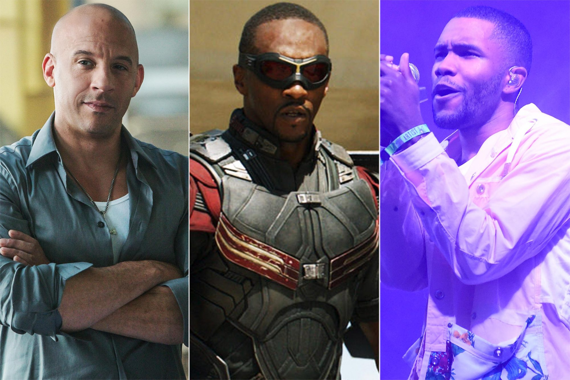 Vin Diesel in Fast & Furious Anthony Mackie as Falcon and Frank Ocean