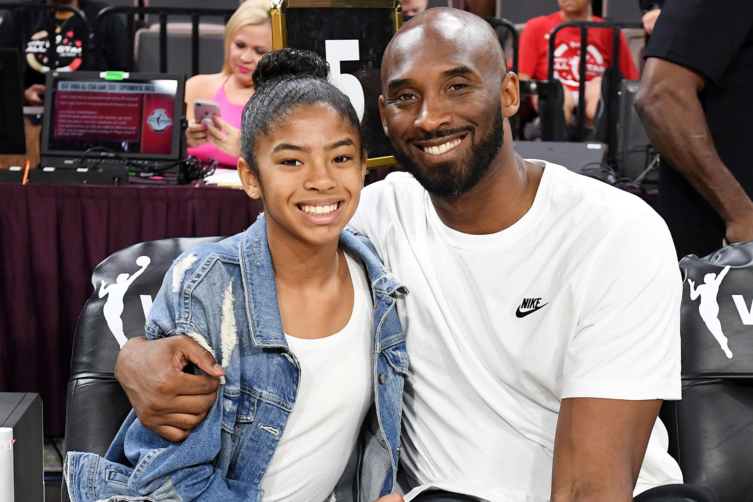 Gianna Bryant and her father, former NBA player Kobe Bryant, attend the WNBA All-Star Game 2019 at the Mandalay Bay Events Center on July 27, 2019 in Las Vegas, Nevada