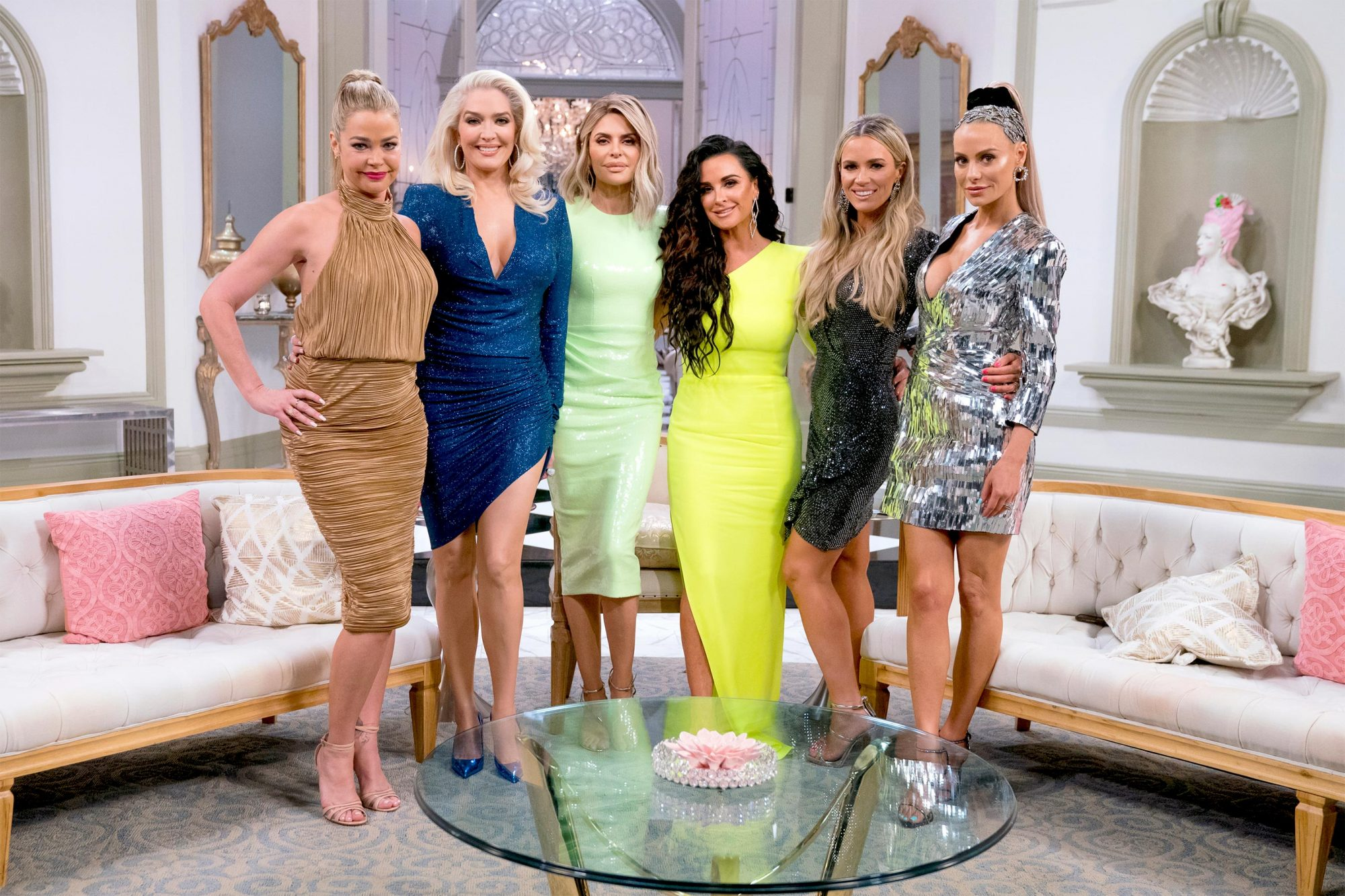 "THE REAL HOUSEWIVES OF BEVERLY HILLS -- ""Reunion"" -- Pictured: (l-r) Denise Richards, Erika Girardi, Lisa Rinna, Kyle Richards, Teddi Mellencamp Arroyave, Dorit Kemsley -- (Photo by: Nicole Weingart/Bravo)"