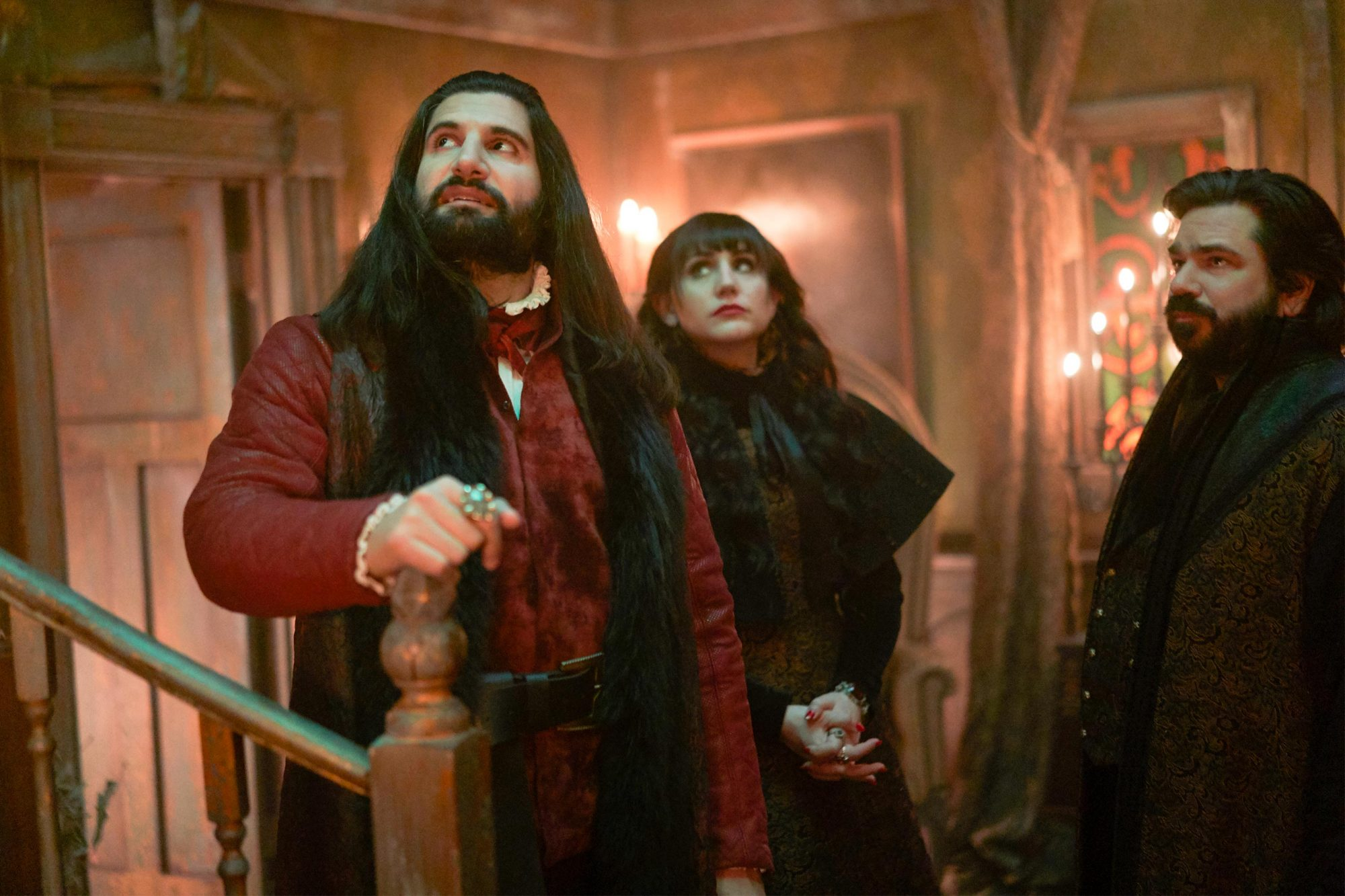 "WHAT WE DO IN THE SHADOWS -- ""Baron's Night Out"" -- Season 1, Episode 6 (Airs May 1, 10:00 pm e/p) Pictured: Kayvan Novak as Nandor, Natasia Demetriou as Nadja, Matt Berry as Laszlo. CR: Russ Martin/FX"