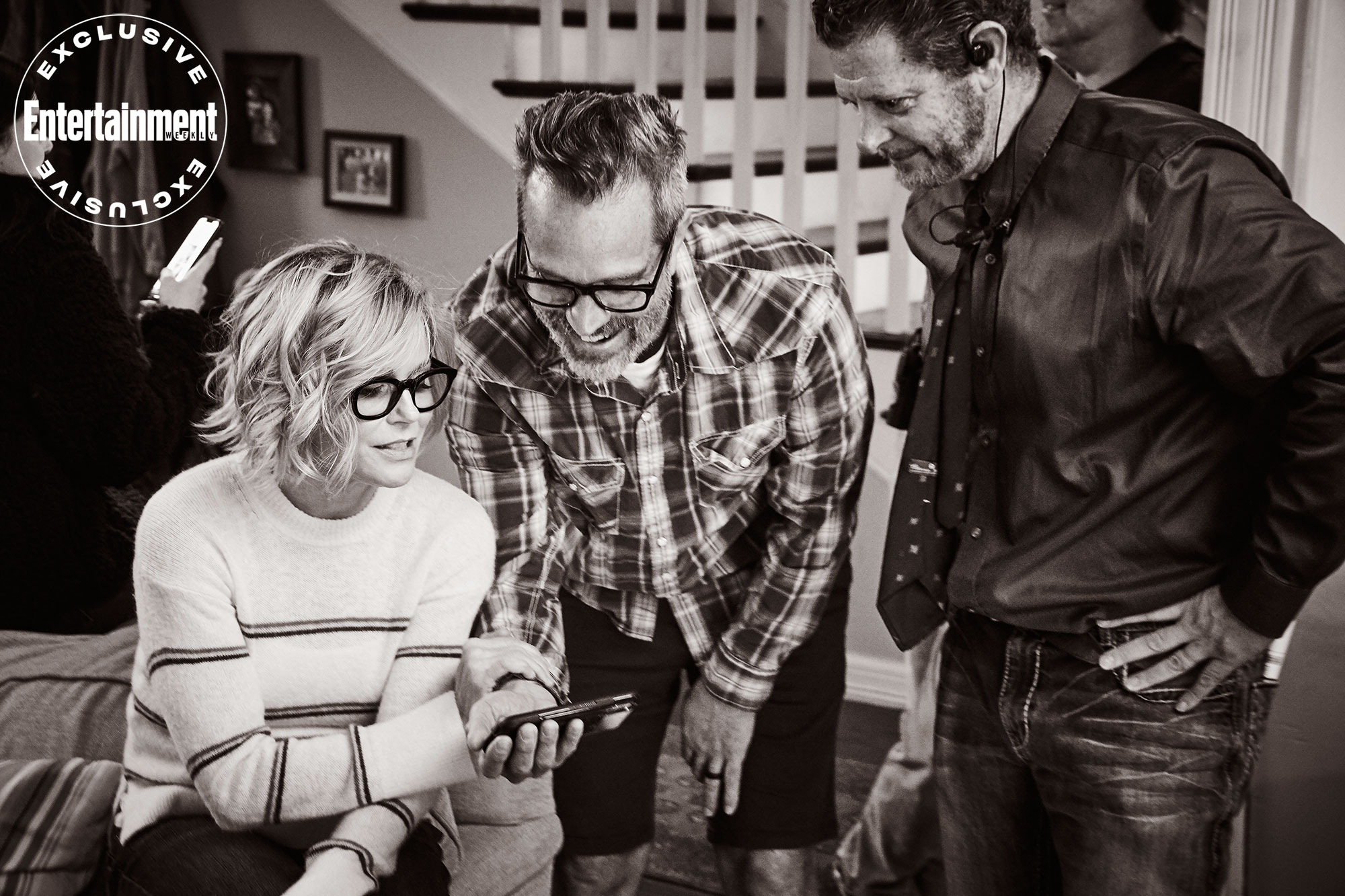 Julie Bowen confers with Modern crew members Trey Clinesmith and John Stradling