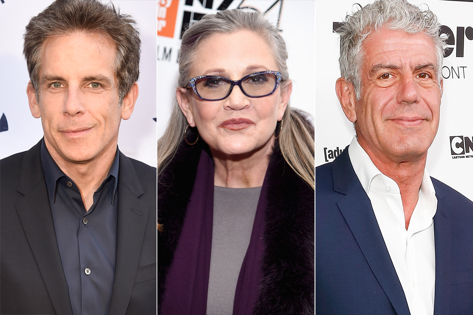 Ben Stiller, Carrie Fisher and Anthony Bourdain