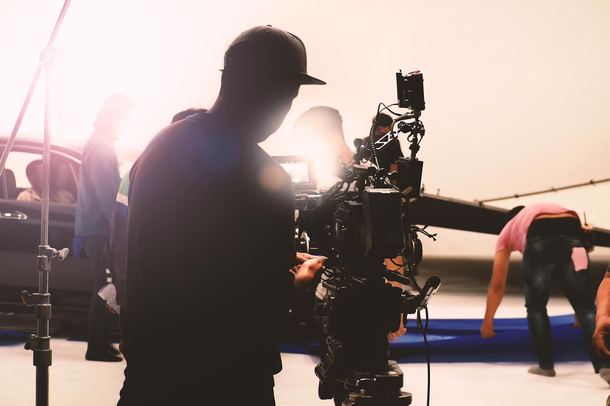 Video camera in film or movie production