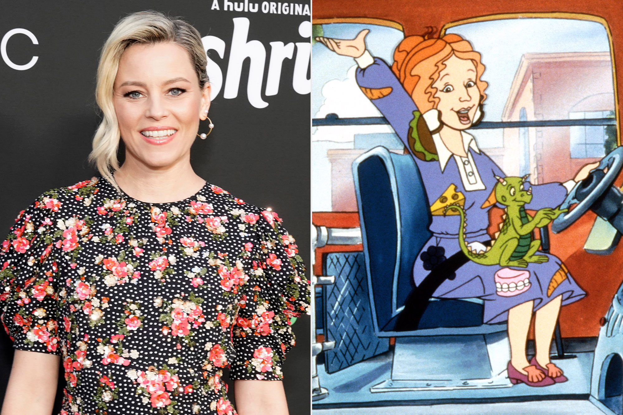 Elizabeth Banks and Ms. Frizzle