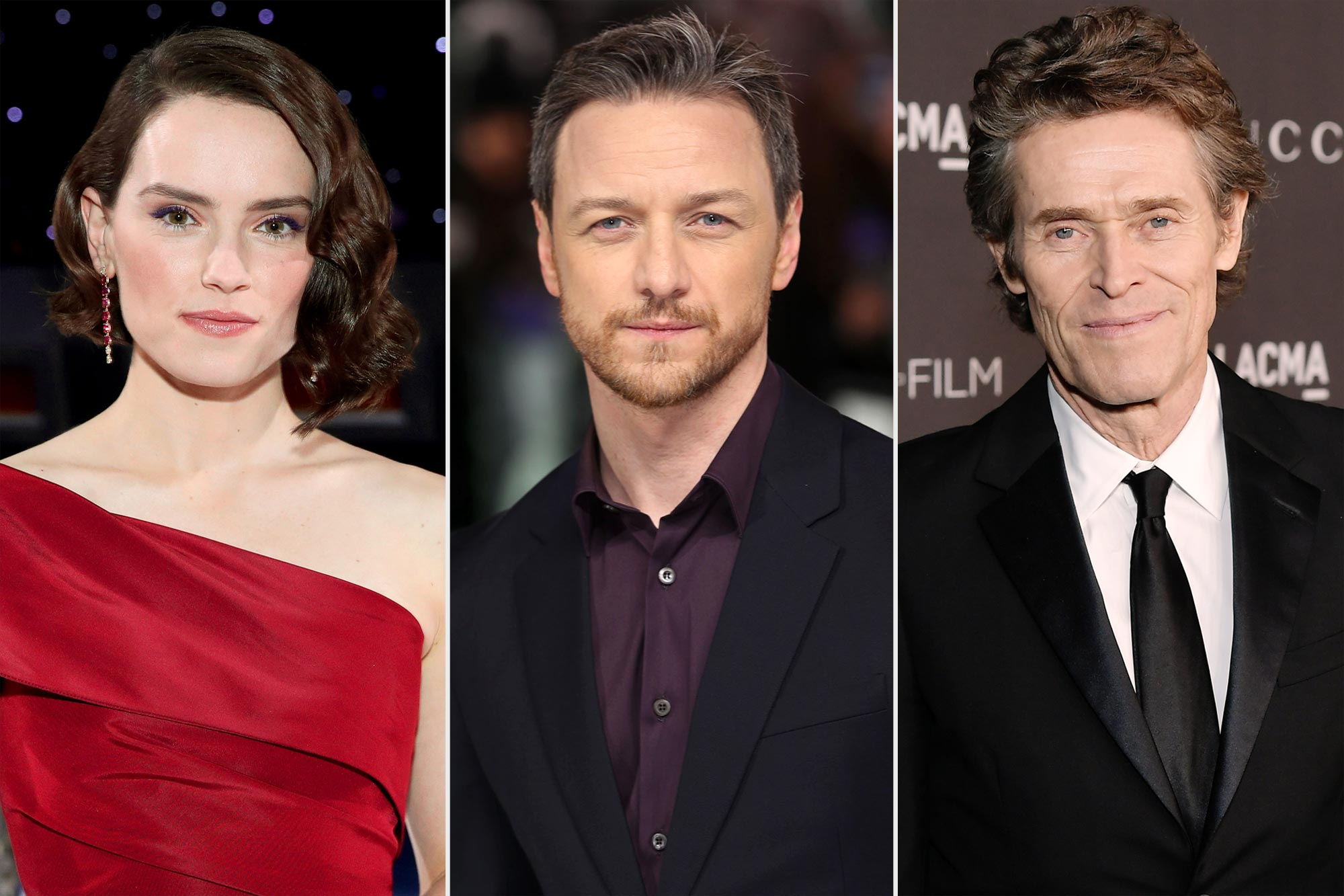 Daisy Ridley, James McAvoy, and Willem Dafoe
