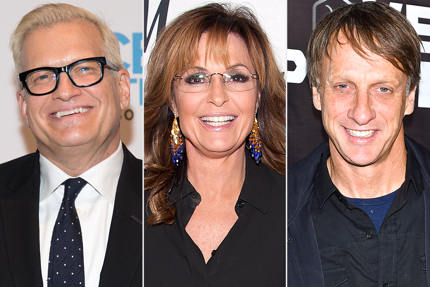 Drew Carey, Sarah Palin, Tony Hawk