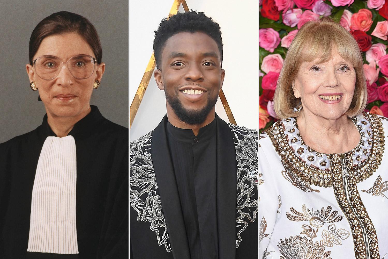Ruth Bader Ginsburg, Chadwick Boseman, and Diana Rigg