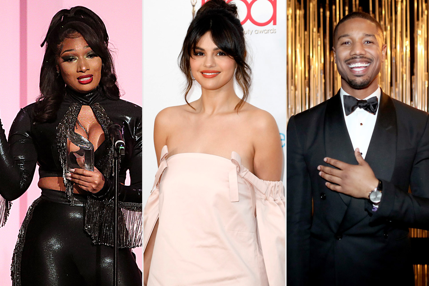 megan thee stallion, selena gomez, and (R) michael b jordan