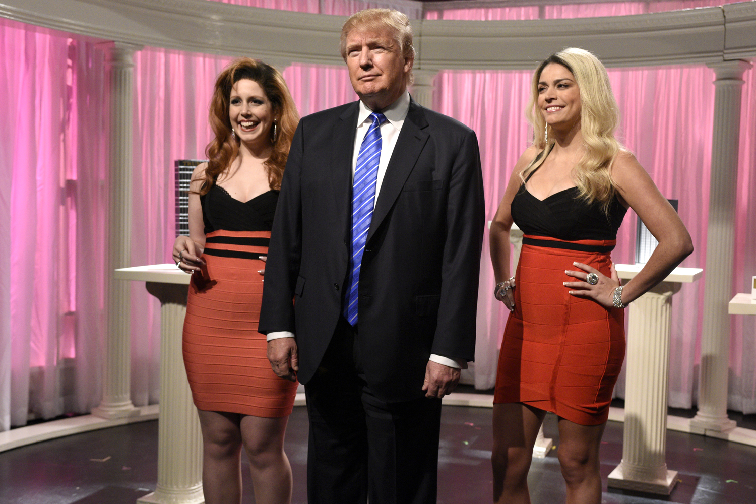 "Vanessa Bayer, Donald Trump, and Cecily Strong during the ""Porn Stars"" sketch on SNL"