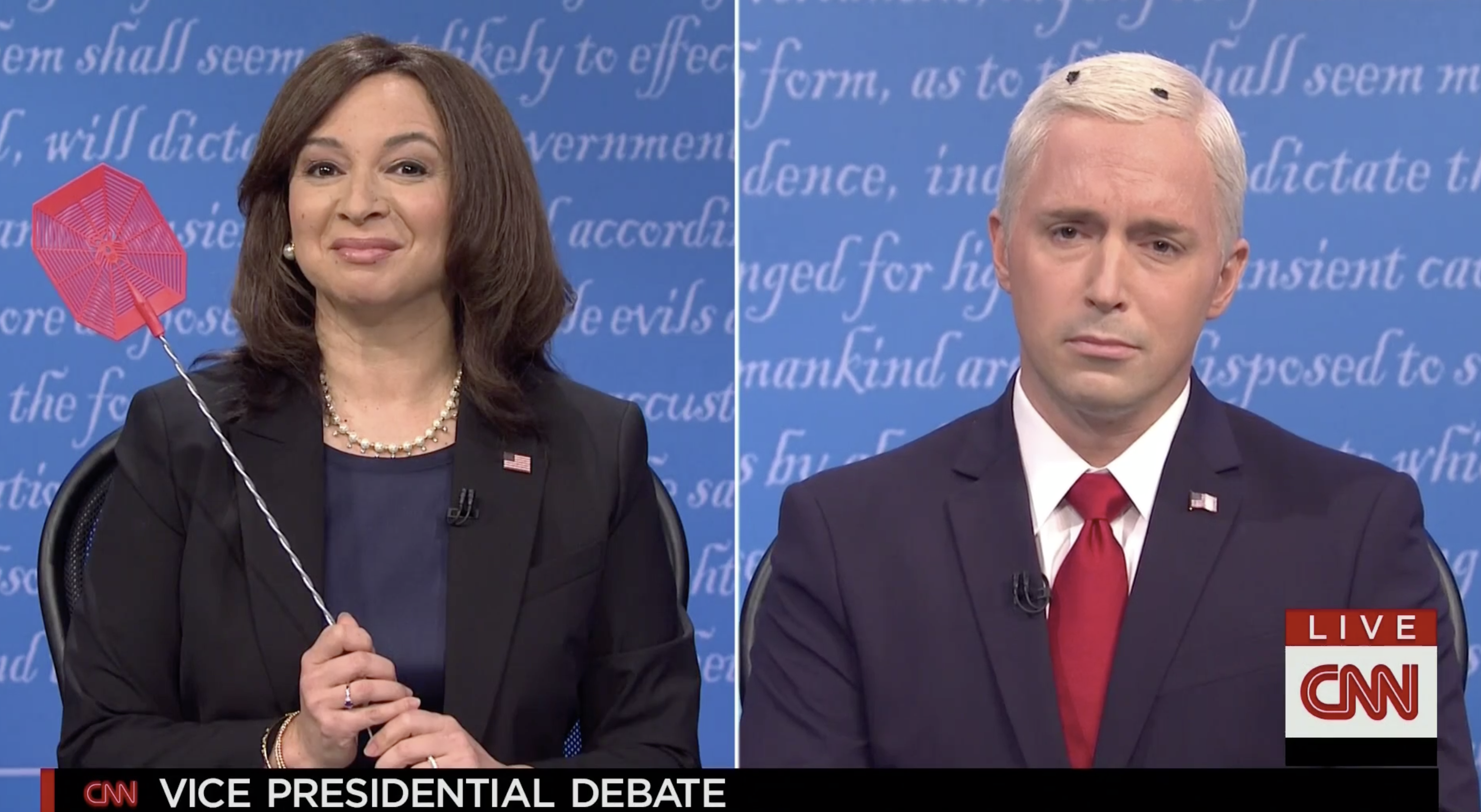 Saturday Night Live VP debate Pence fly