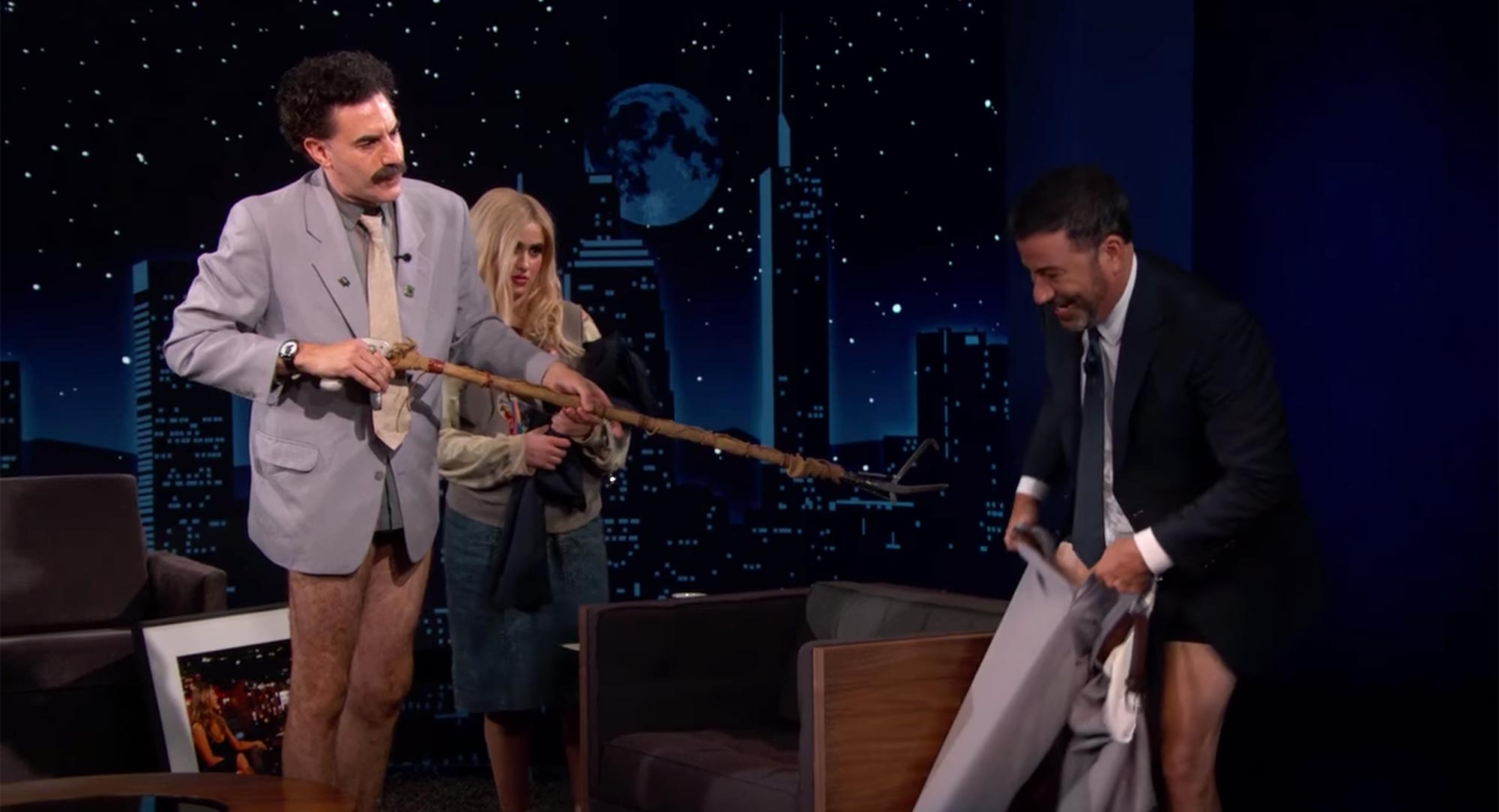 Borat Gives Jimmy Kimmel a Coronavirus Inspection