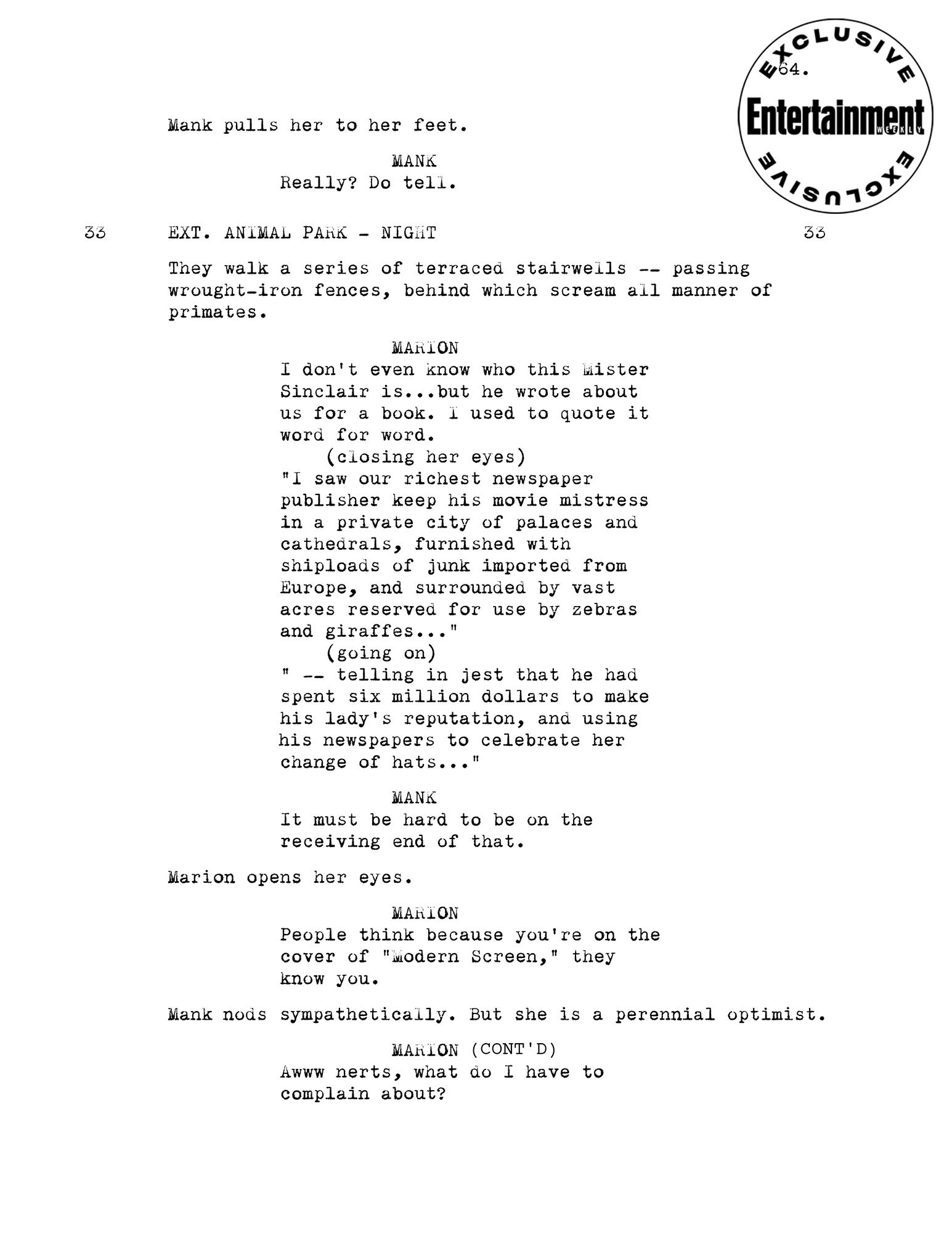 Mank script page