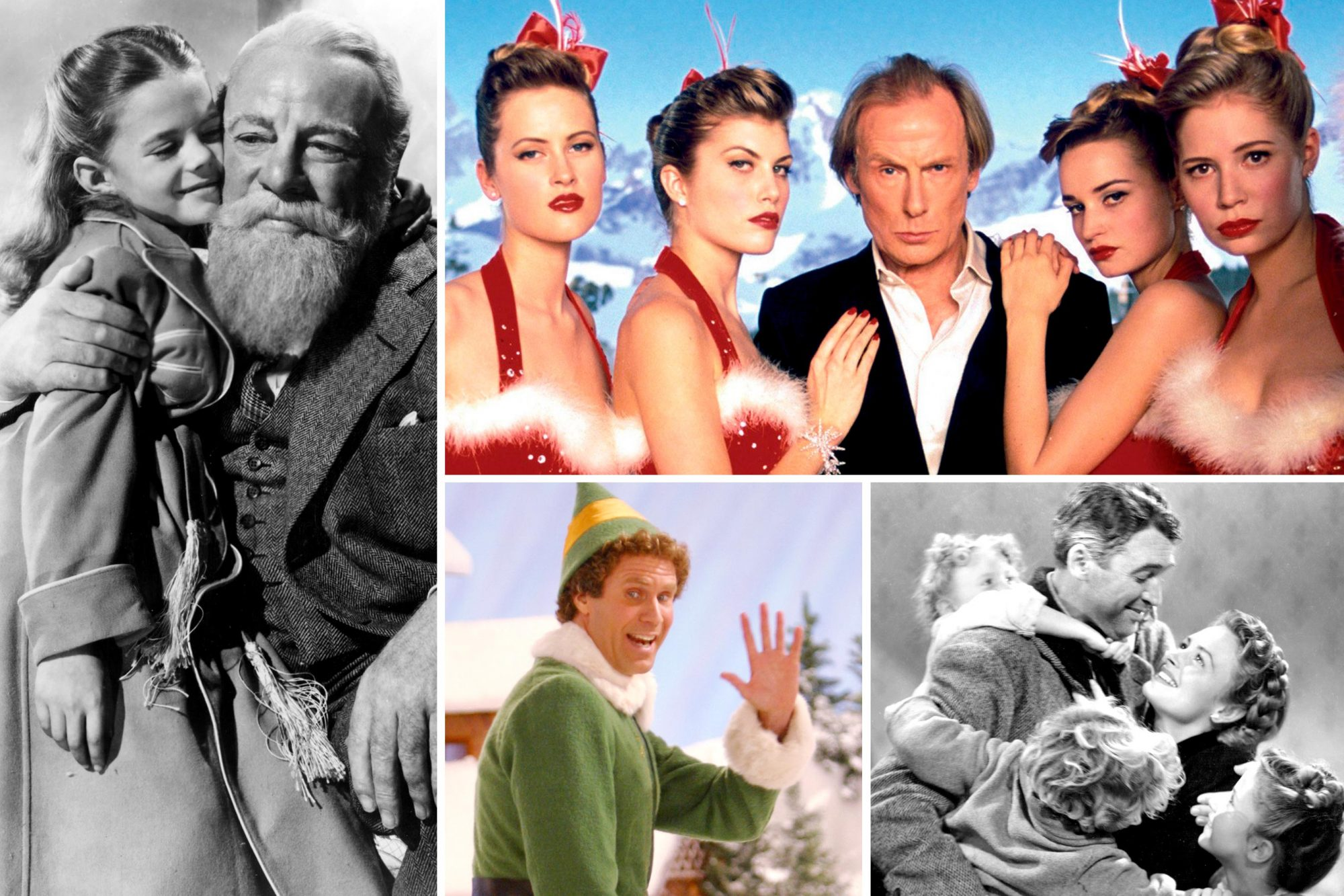 IT'S A WONDERFUL LIFE, MIRACLE ON 34TH ST, LOVE ACTUALLY, and ELF