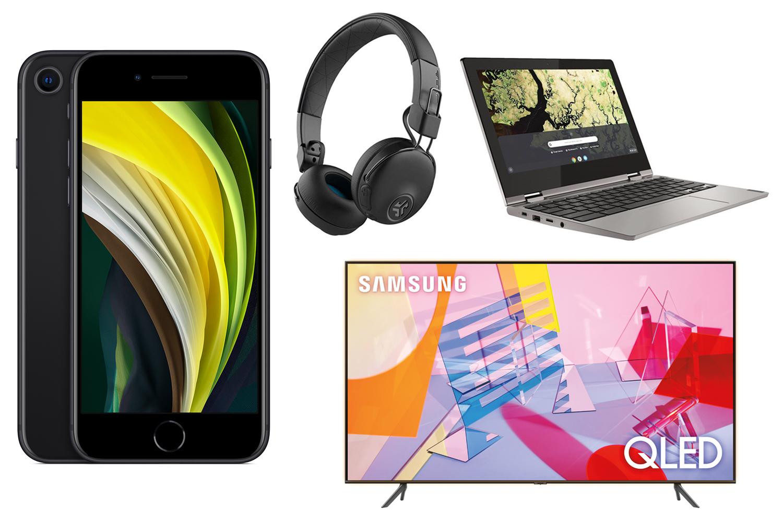 Iphone, headphones, laptop, tv